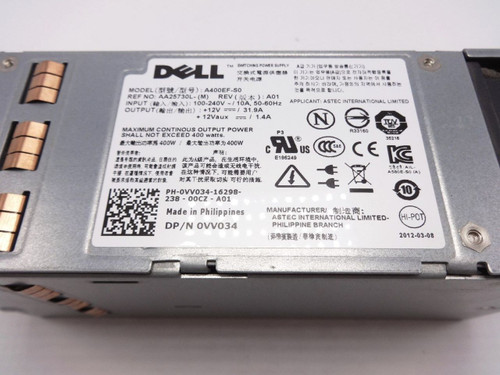 Power Supply VV034 For Dell POWEREDGE T310 400W D400EF-S0 AA25730L R101K VV034 N884K