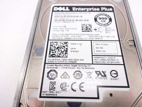 Dell F4VMK 900GB SAS 10K 2.5 12gbps hard drive