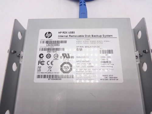 HP 695143-001 RDX320 USB3 Internal Removable Disk Backup System B7B62A 5697-1870