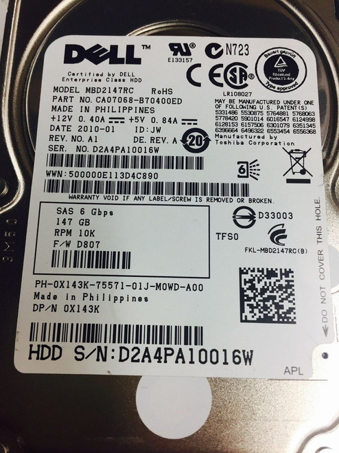 DELL X143K 146GB SAS 10K 2.5 6GBPS MBD2147RC