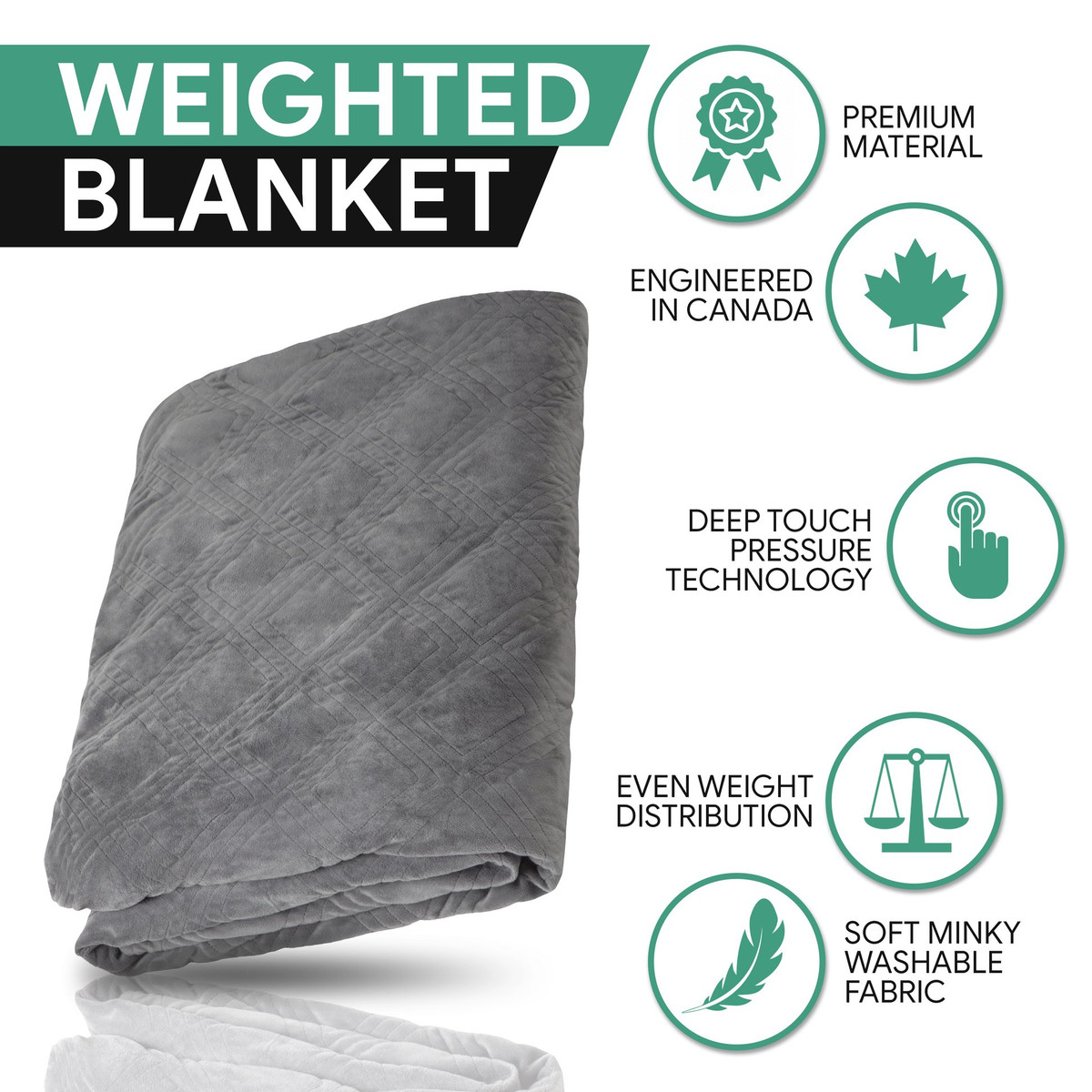 HUSH Classic Blanket with Duvet Cover - Queen 80x87 - 25 pounds