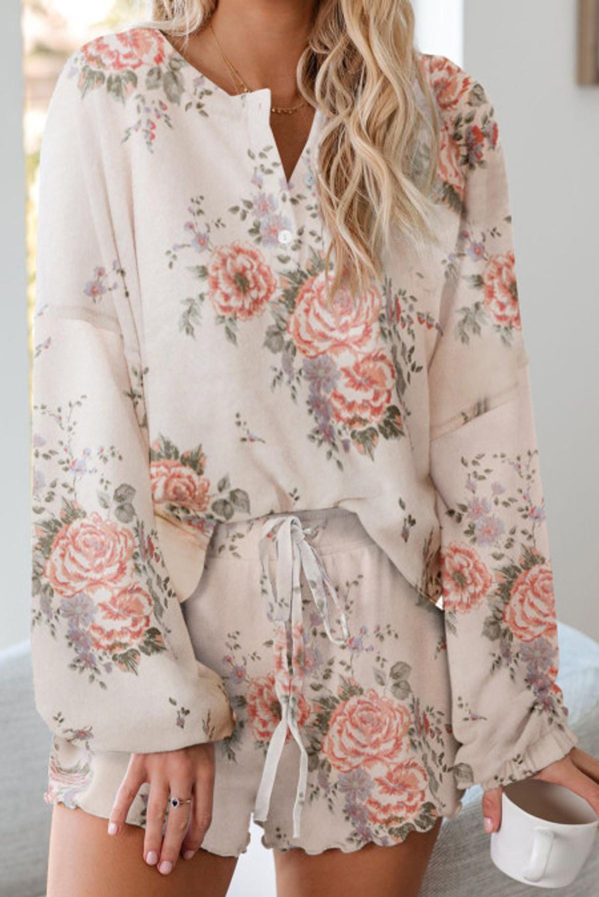 Floral Print Soft Pajama Set (FRE45019-1010)  FRE450191010P2XL