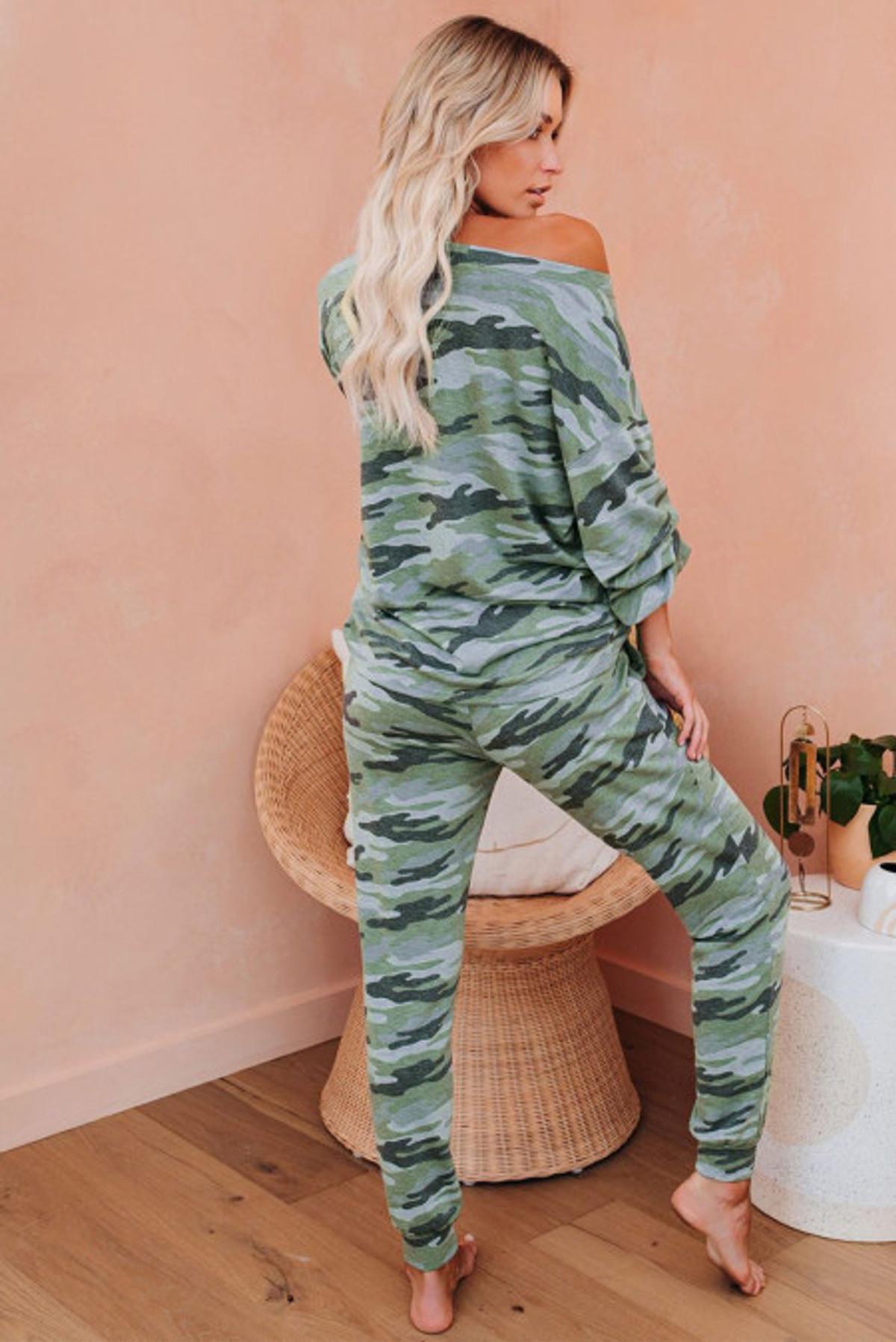 Puffy Sleeve Camo & pant Pajama Set (FRE451214-9)  FRE4512149FL