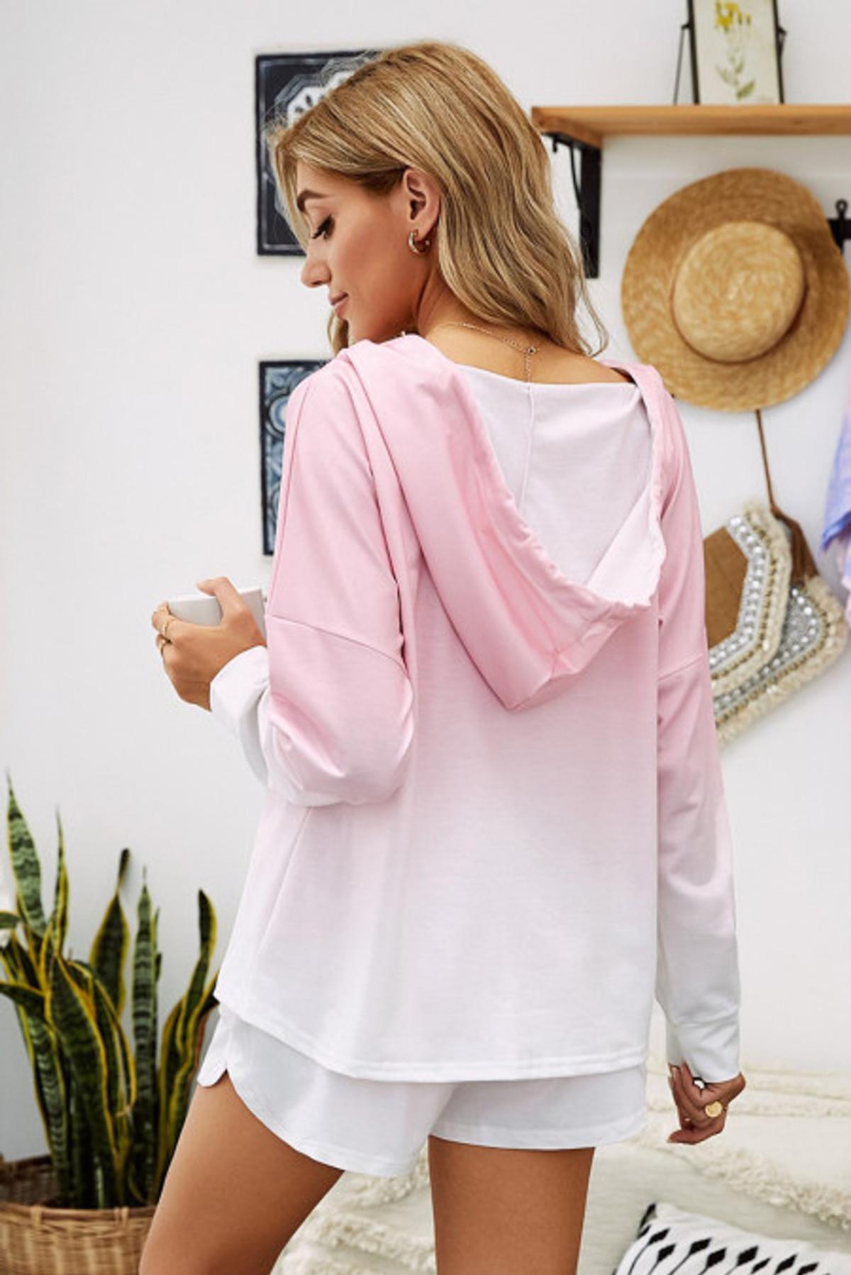 Ombre Hooded Lounge Sweatshirt & Shorts Set (FRE45068-10)  FRE4506810P2XL