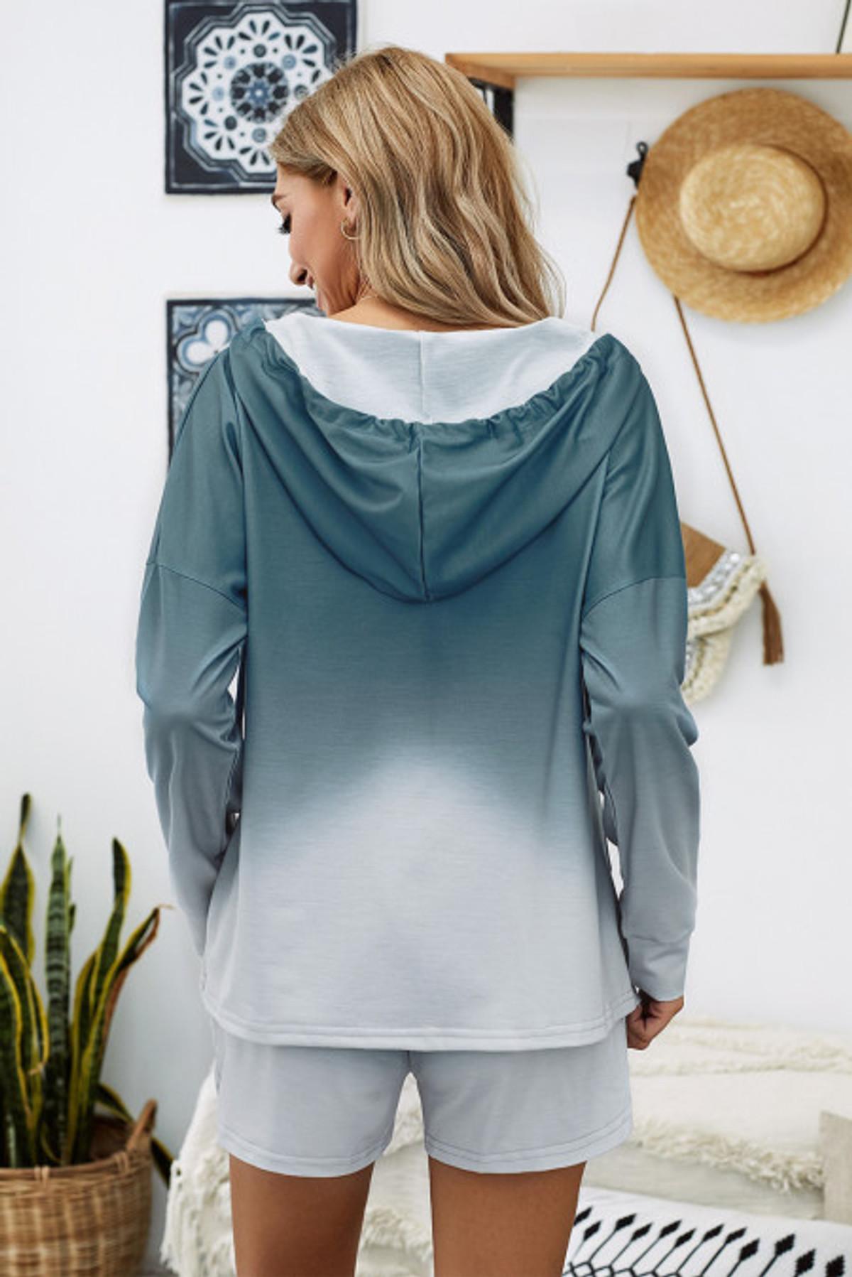 Ombre Hooded Lounge Sweatshirt & Shorts Set (FRE45068-5)  FRE450685F2XL