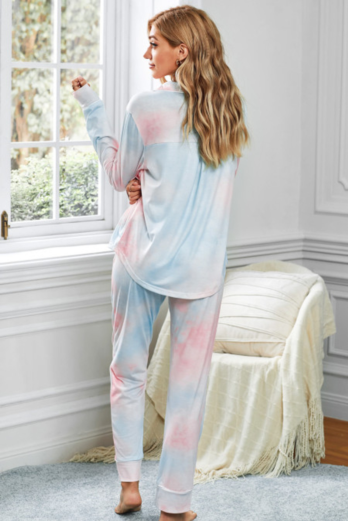 Tie-dye Long Sleeve top with Pant Pajamas Set (FRE451011-14)  FRE45101114M2XL