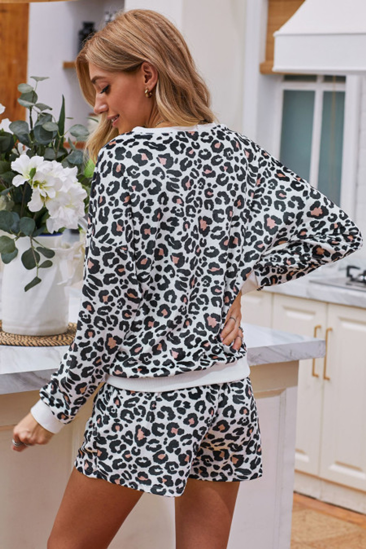 Leopard Long Sleeve & Shorts Pajamas Set (FRE45026-2)  FRE450262W2XL