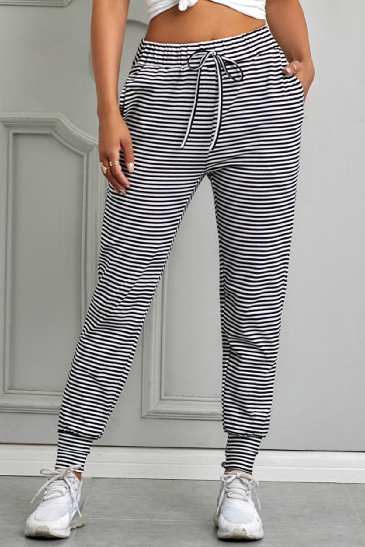 Black Striped Casual Jogging (FRE77329-19)  FRE7732919BL