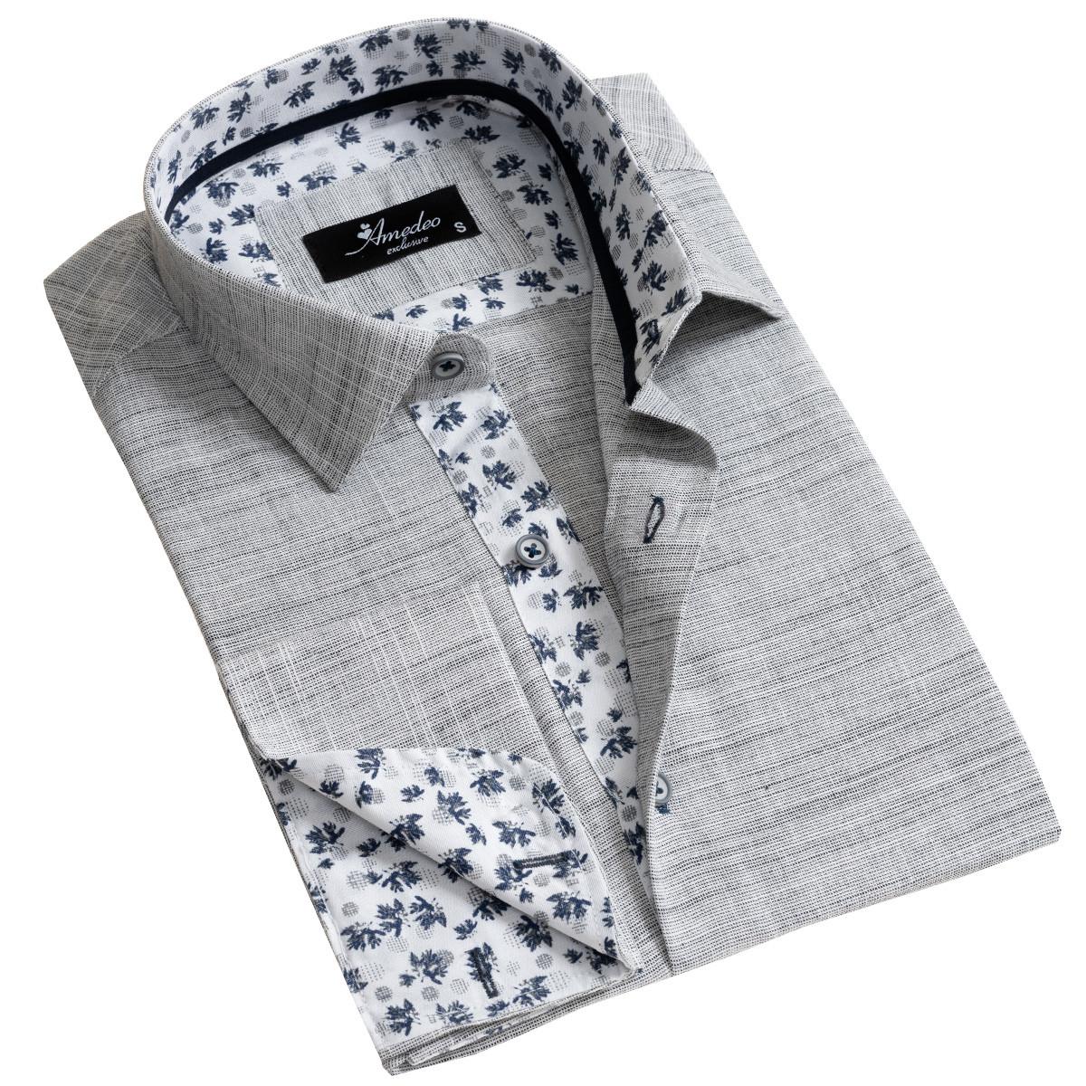 European Made & Designed Reversible Cuff Premium French Cuff Dress Shirt - light grey