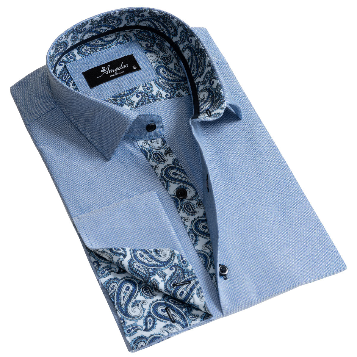 European Made & Designed Reversible Cuff Premium French Cuff Dress Shirt - light blue