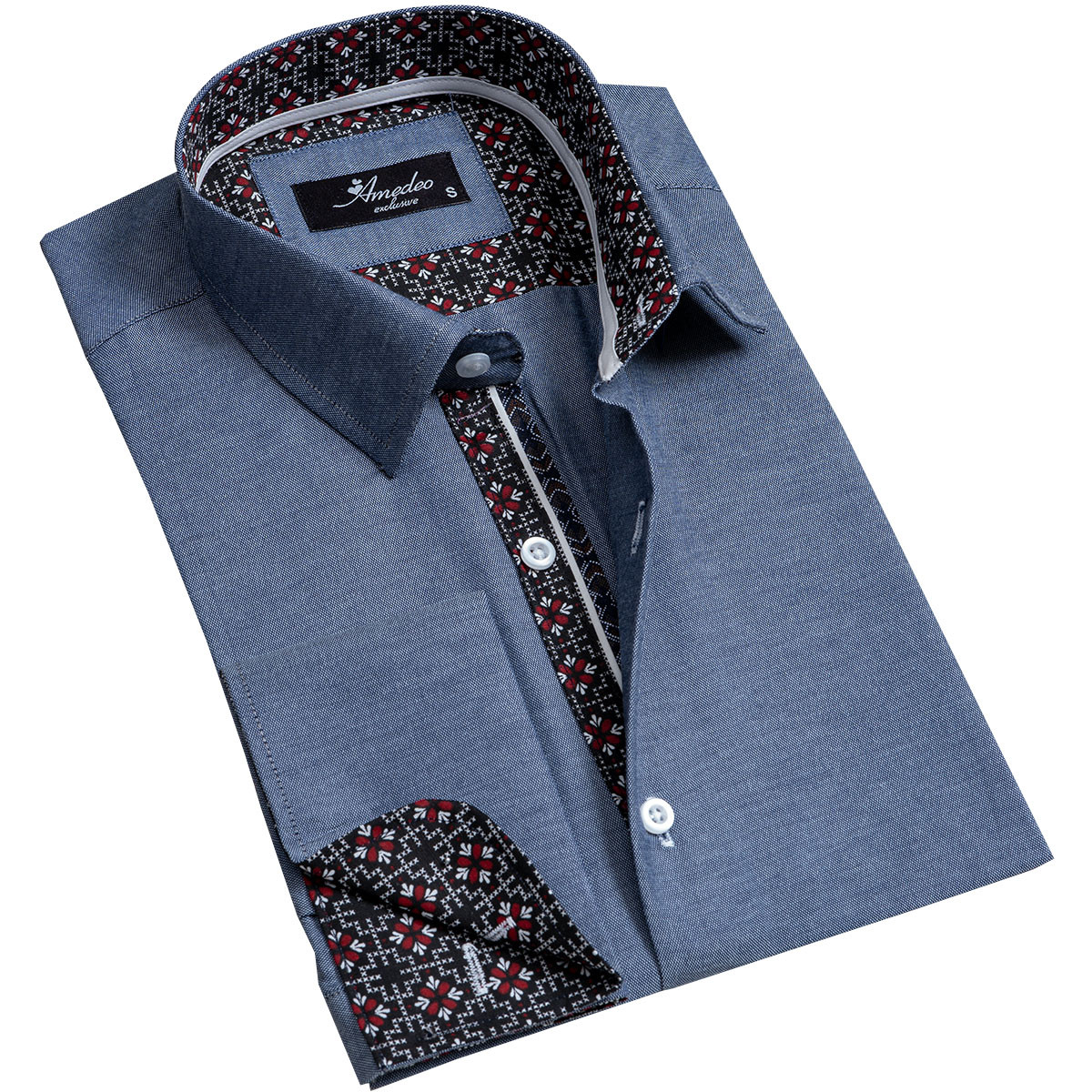 European Made & Designed Reversible Cuff Premium French Cuff Dress Shirt - denim blue