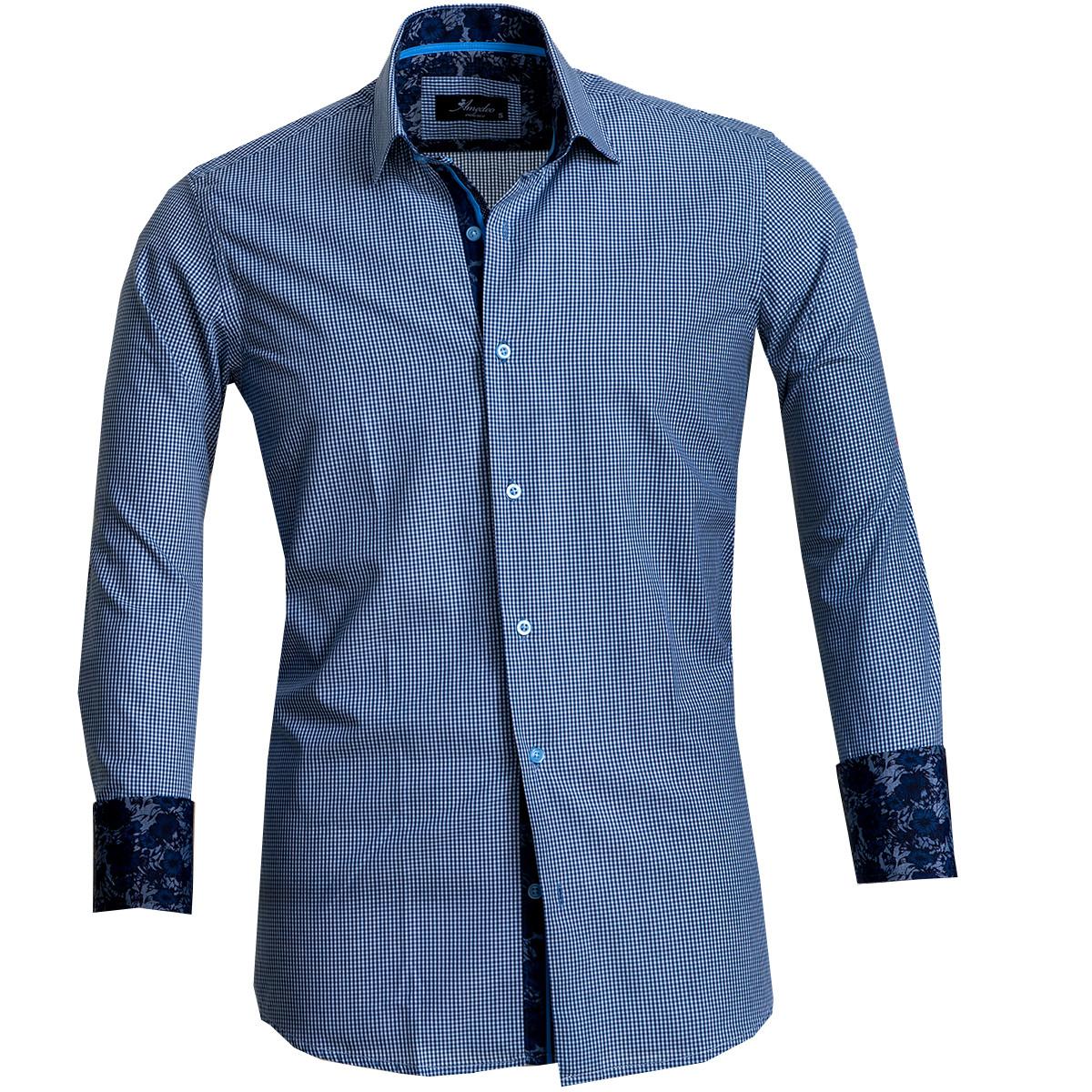 European Made & Designed Reversible Cuff Premium French Cuff Dress Shirt - blue check