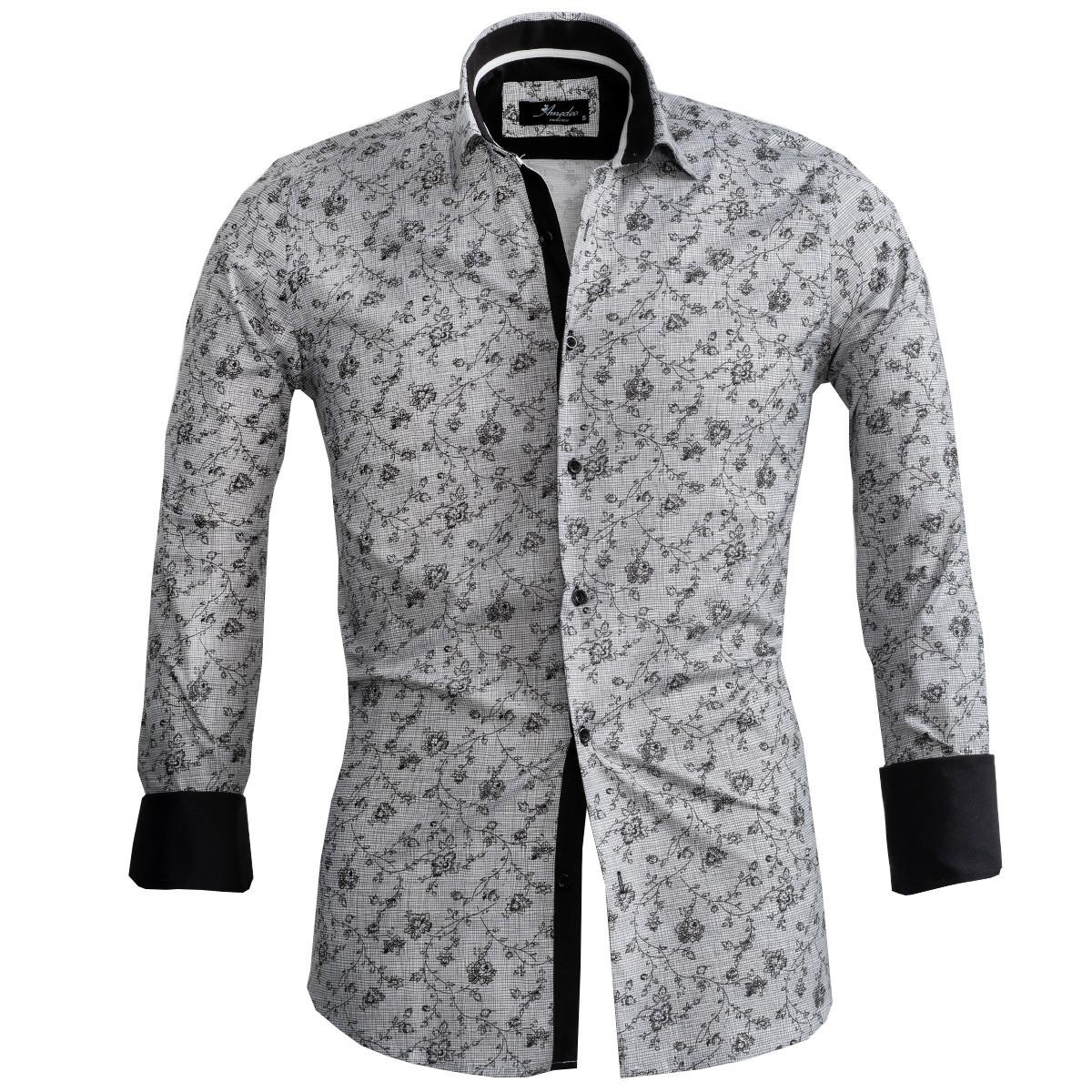 European Made & Designed Reversible Cuff Premium French Cuff Dress Shirt - grey & black