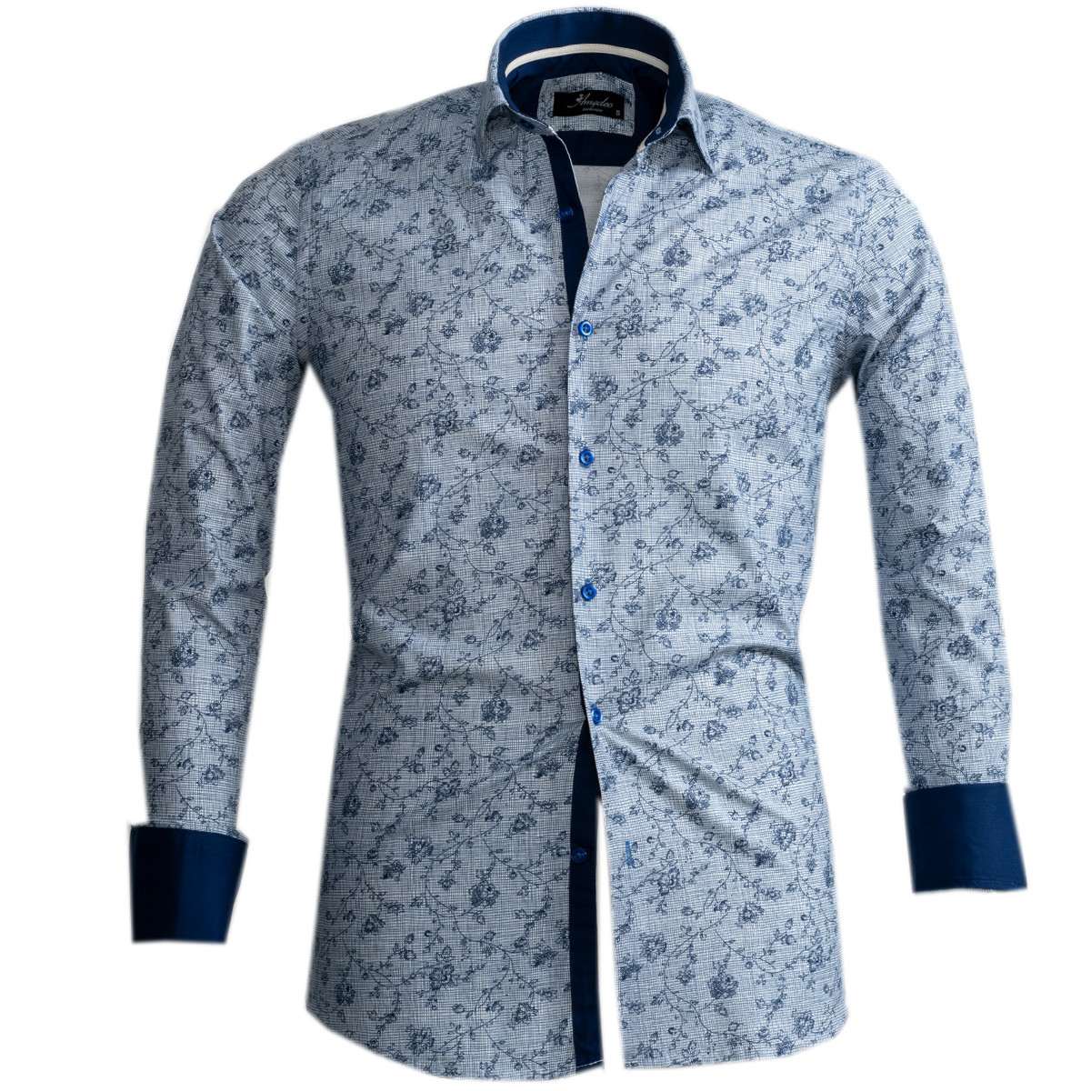European Made & Designed Reversible Cuff Premium French Cuff Dress Shirt - light blue and navy
