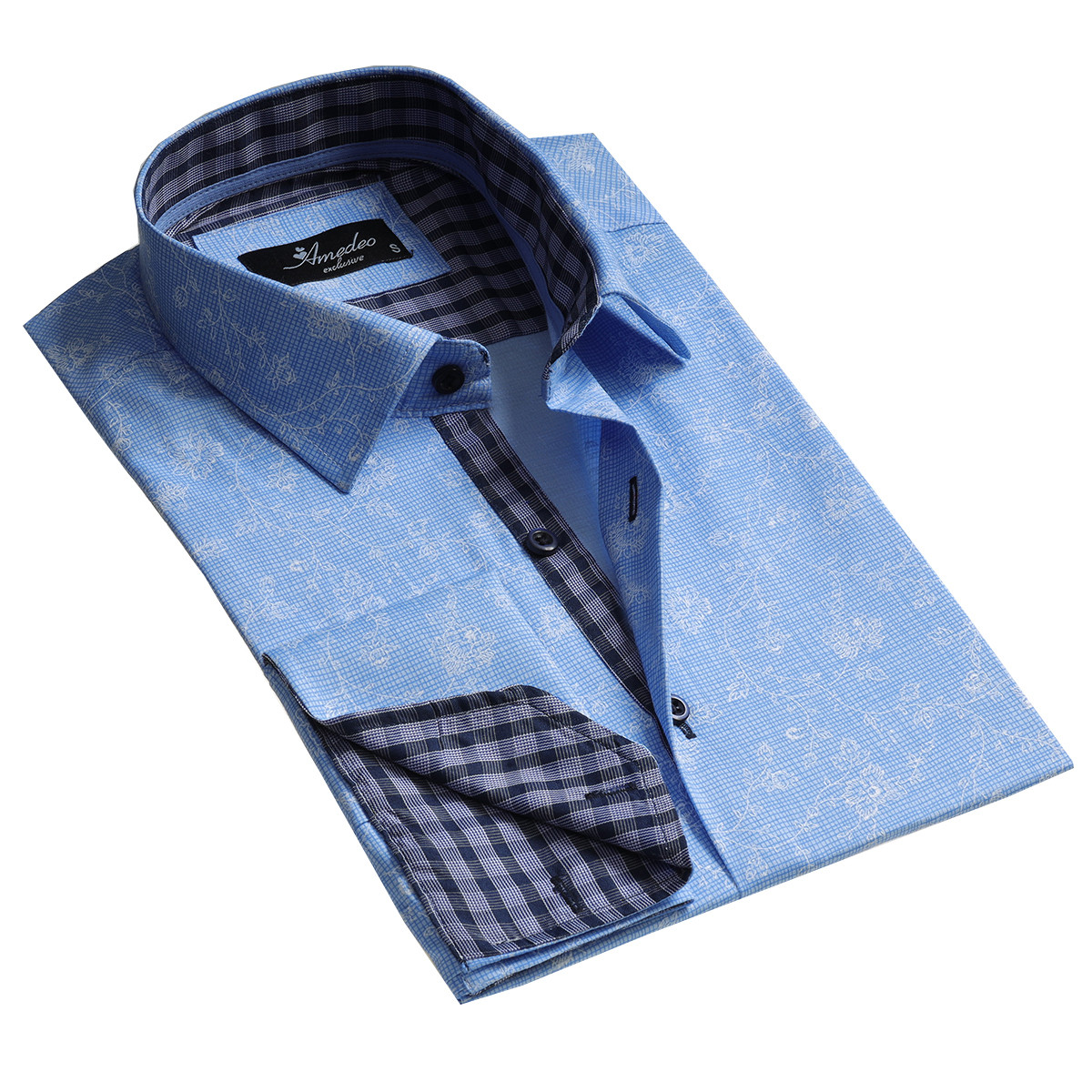 European Made & Designed Reversible Cuff Premium French Cuff Dress Shirt - light blue floral