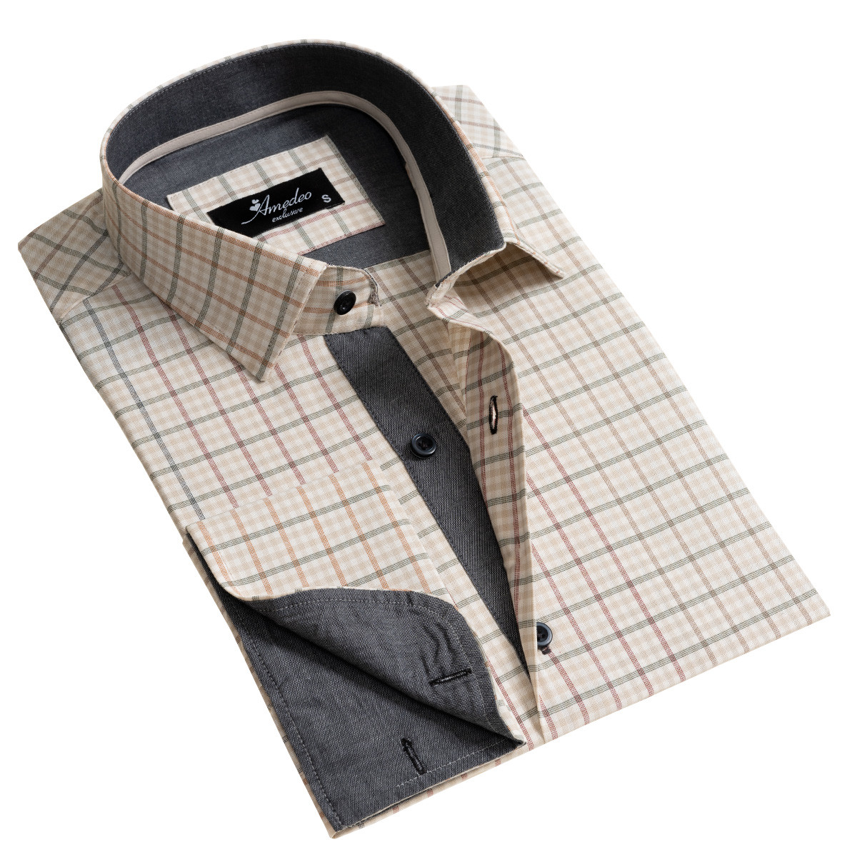 European Made & Designed Reversible Cuff Premium French Cuff Dress Shirt - beige