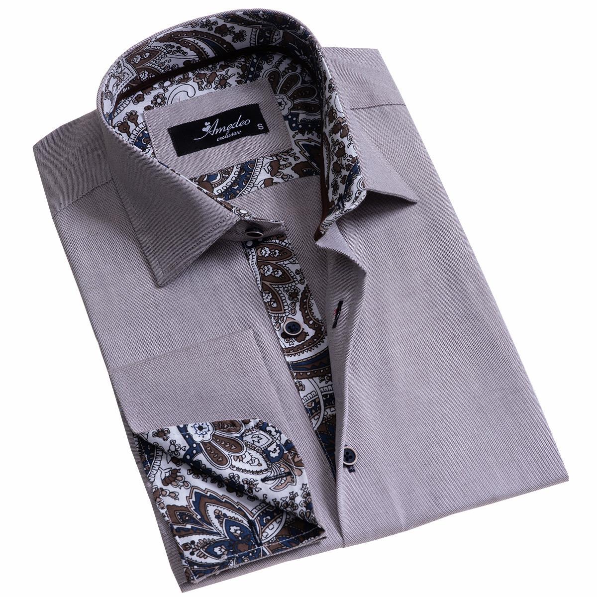 European Made & Designed Reversible Cuff Premium French Cuff Dress Shirt - grey
