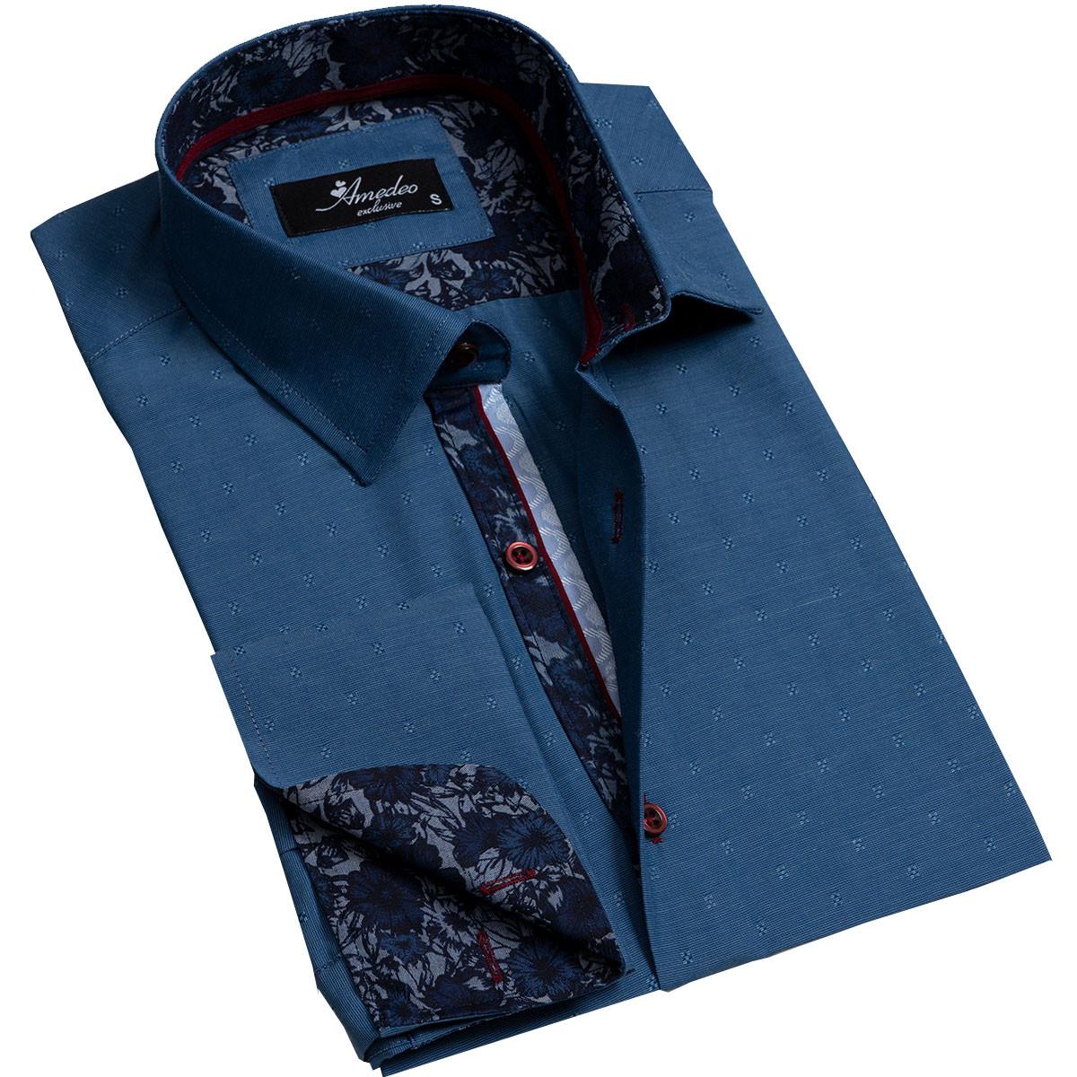 European Made & Designed Reversible Cuff Premium French Cuff Dress Shirt - textured blue