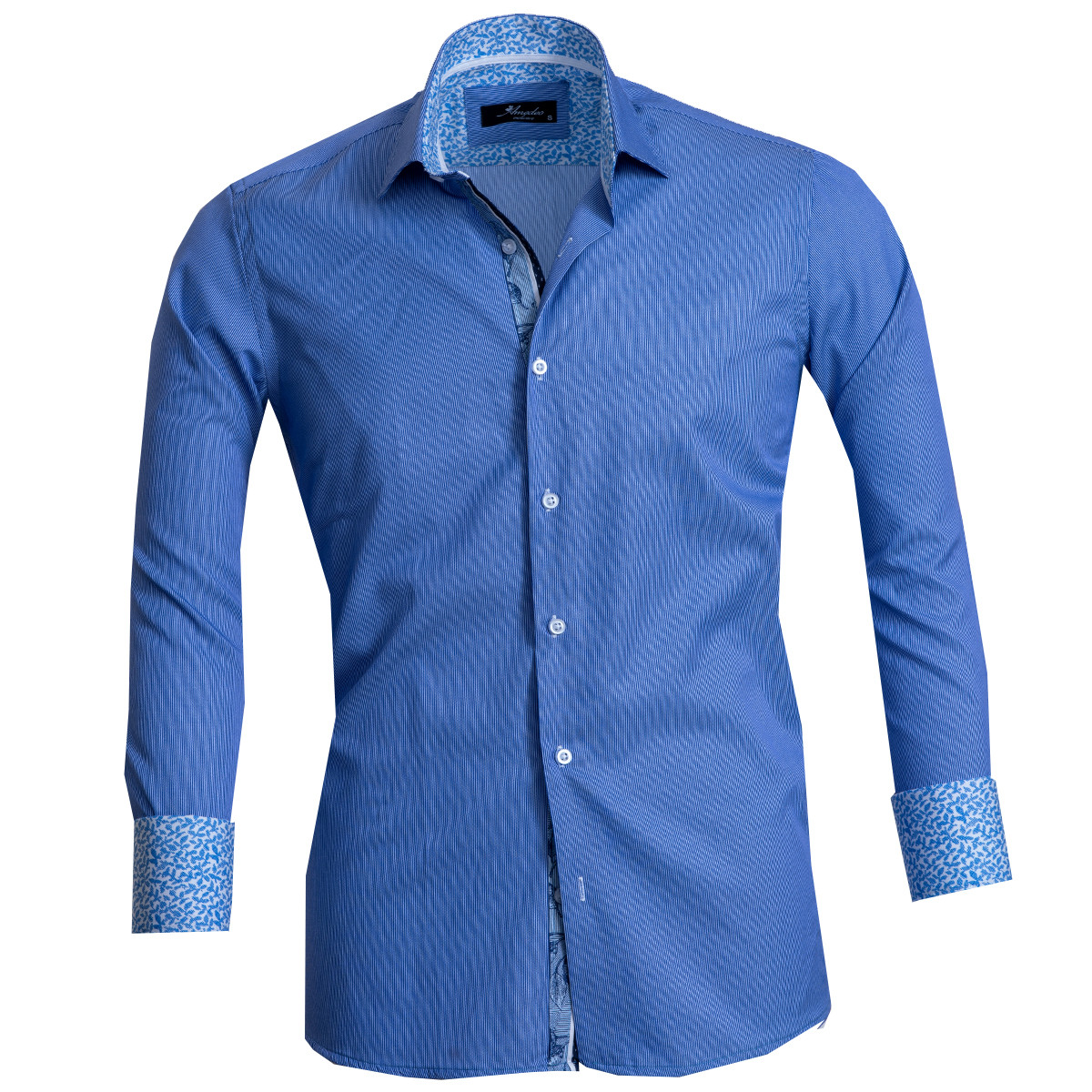 European Made & Designed Reversible Cuff Premium French Cuff Dress Shirt - blue lines
