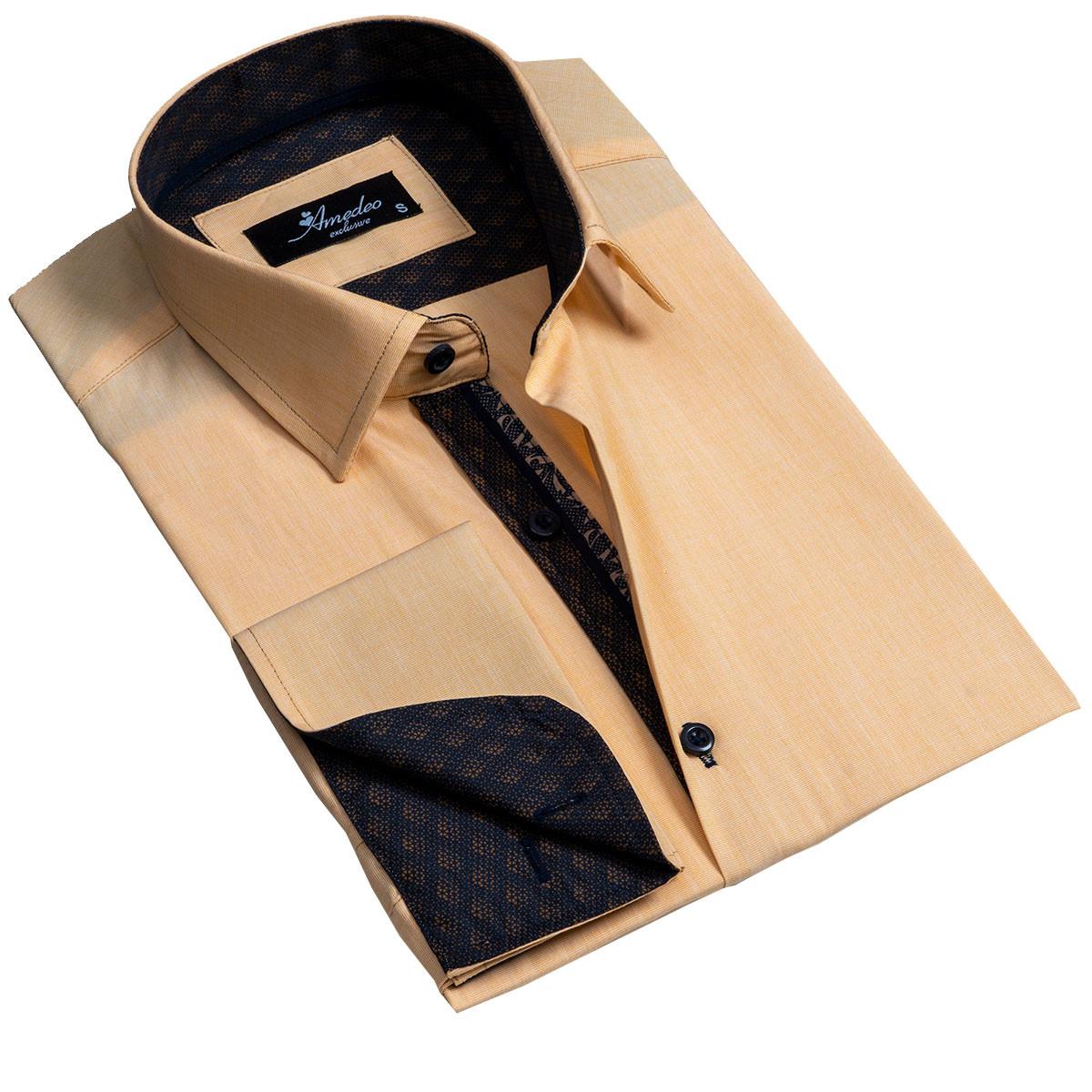 European Made & Designed Reversible Cuff Premium French Cuff Dress Shirt - copper