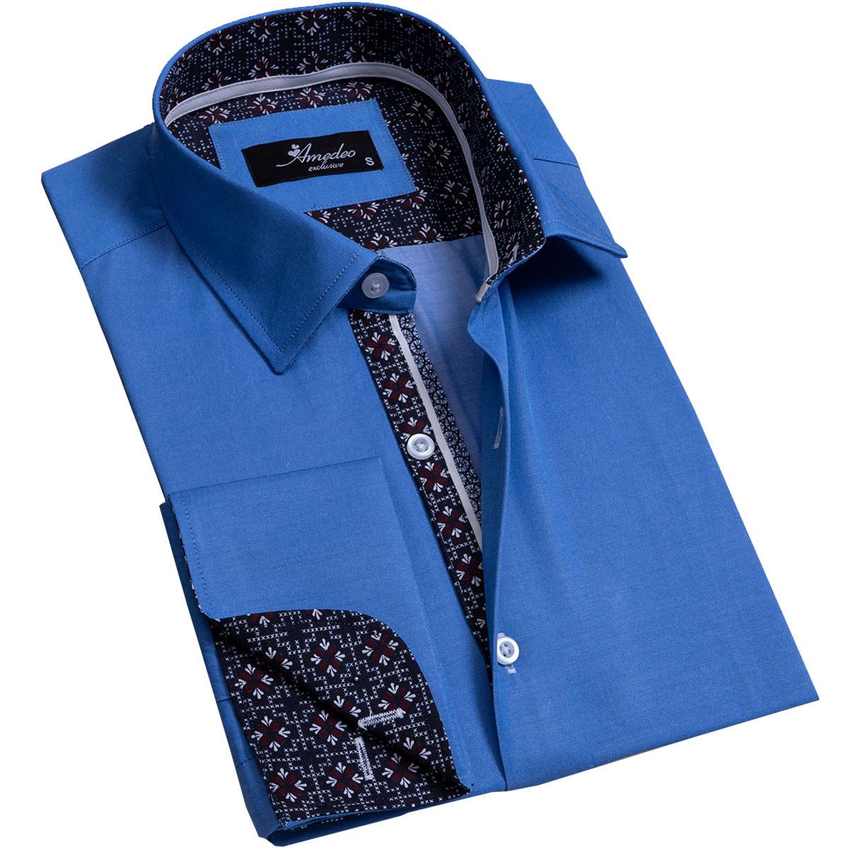 European Made & Designed Reversible Cuff Premium French Cuff Dress Shirt - medium blue