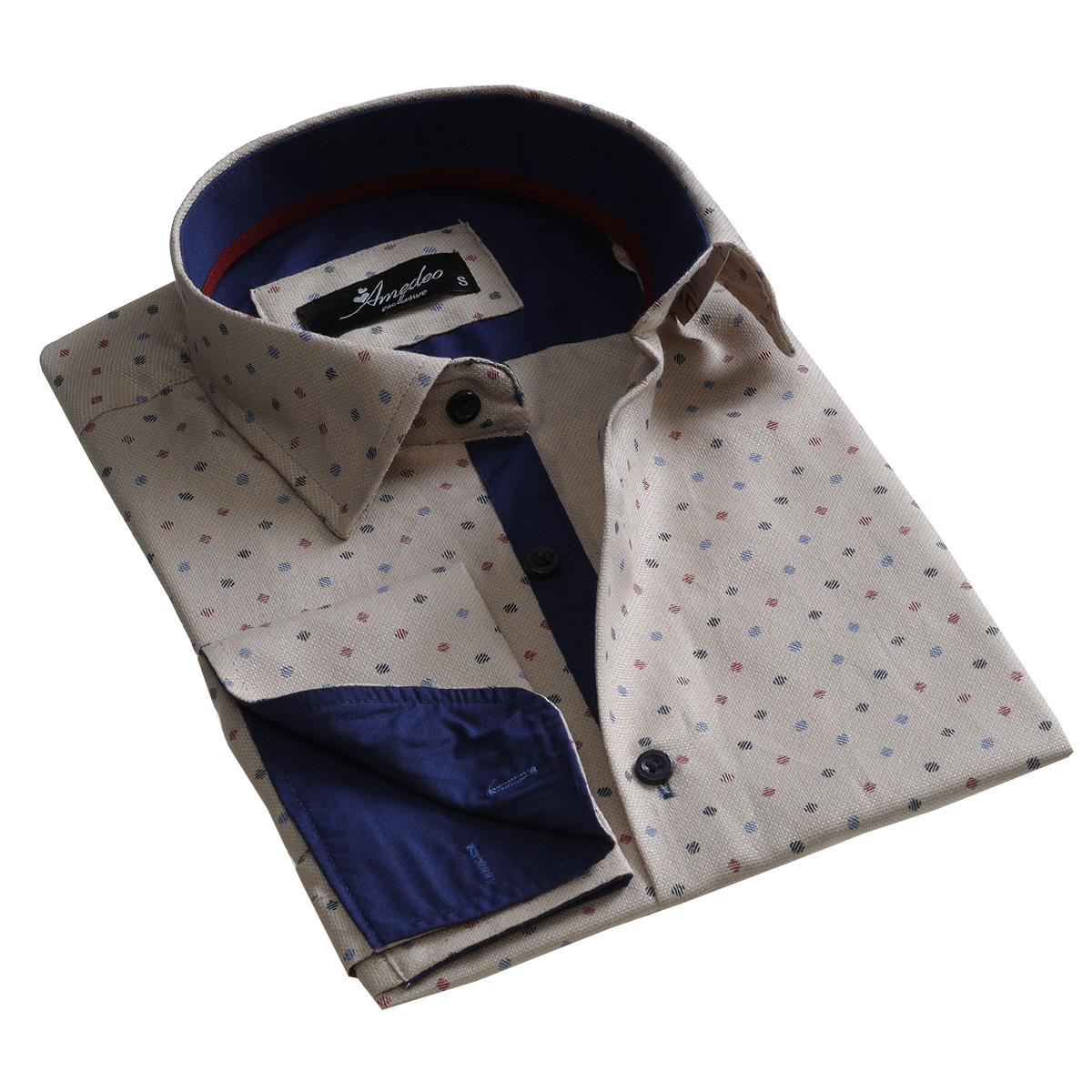 European Made & Designed Reversible Cuff Premium French Cuff Dress Shirt - cream