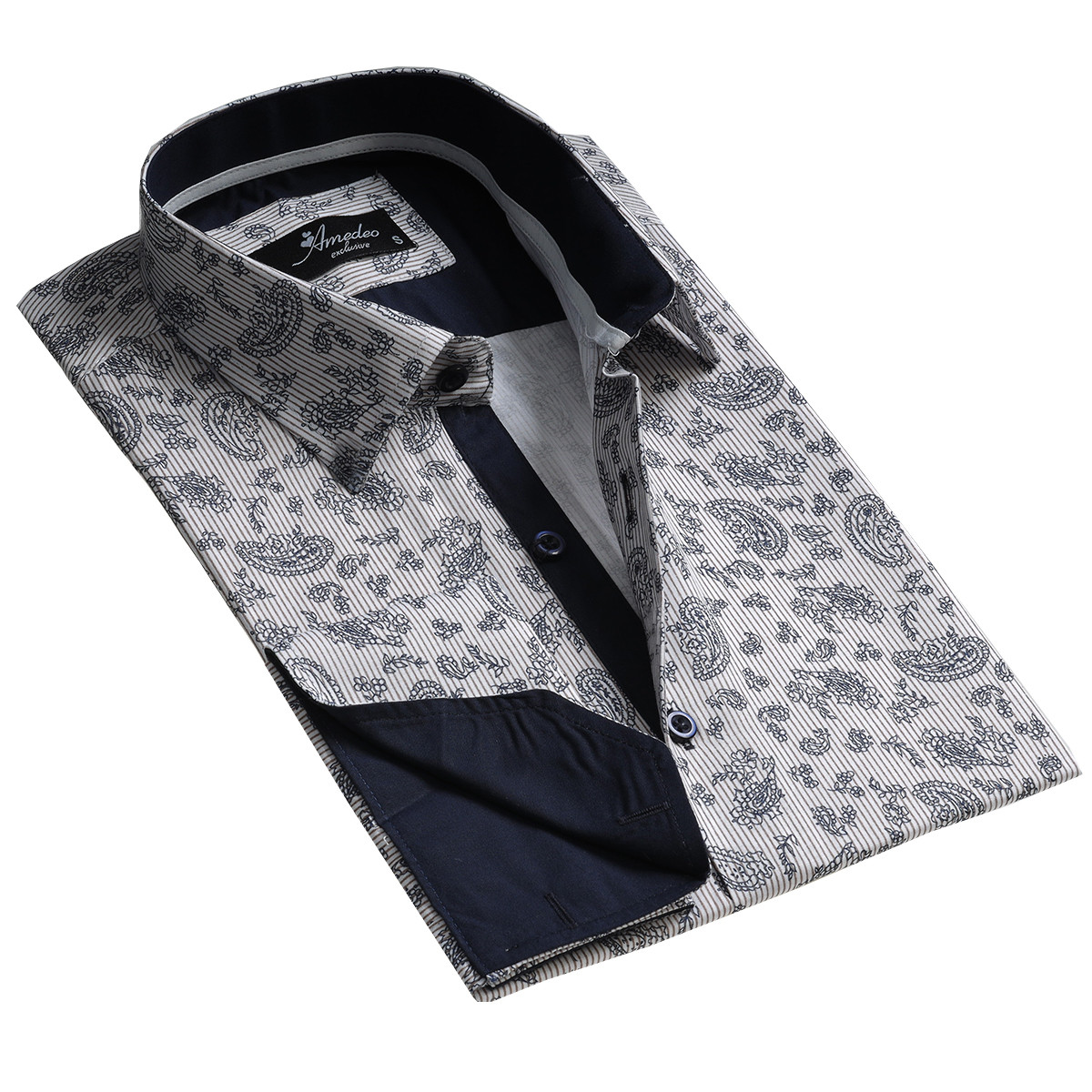 European Made & Designed Reversible Cuff Premium French Cuff Dress Shirt - light grey floral