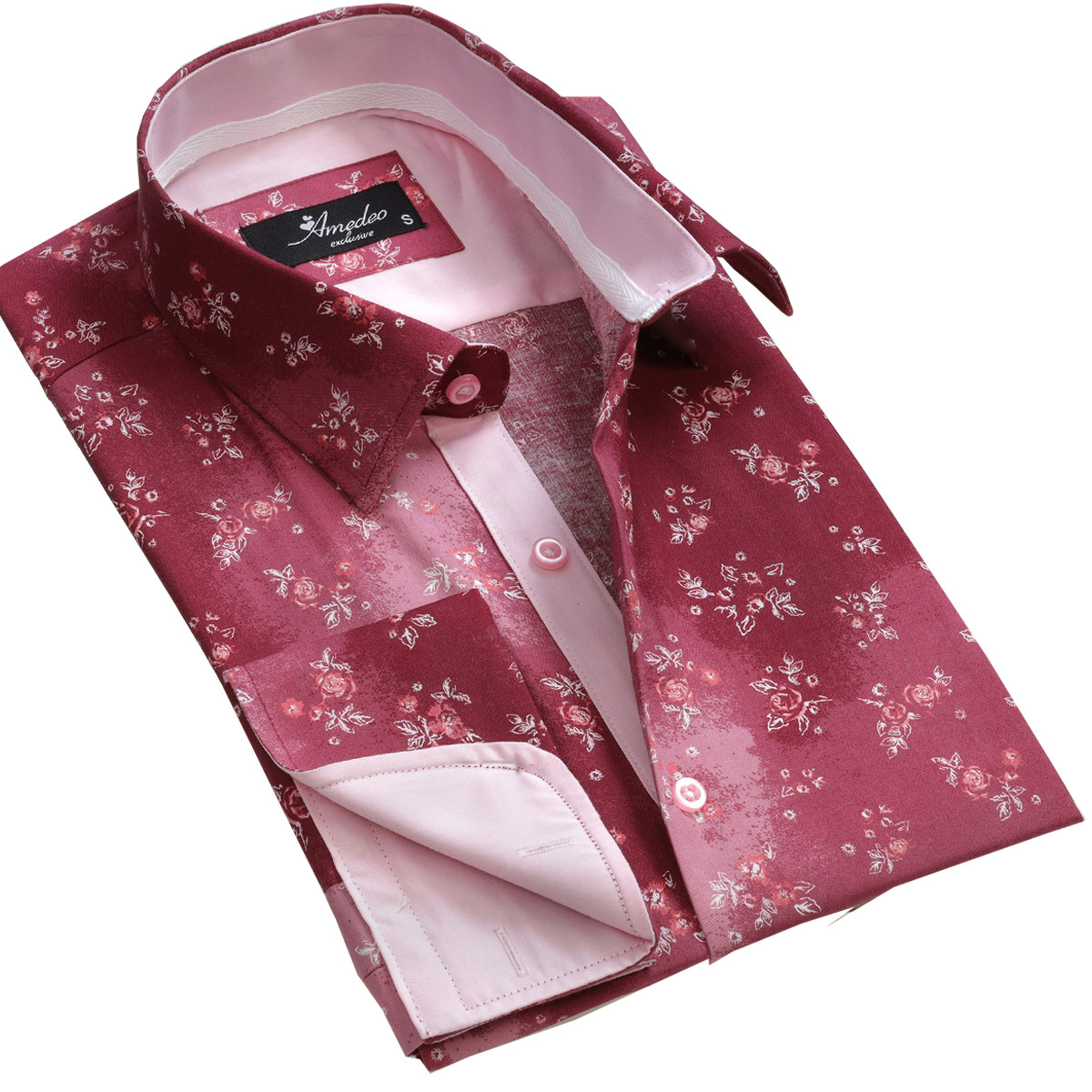 European Made & Designed Reversible Cuff Premium French Cuff Dress Shirt - red floral