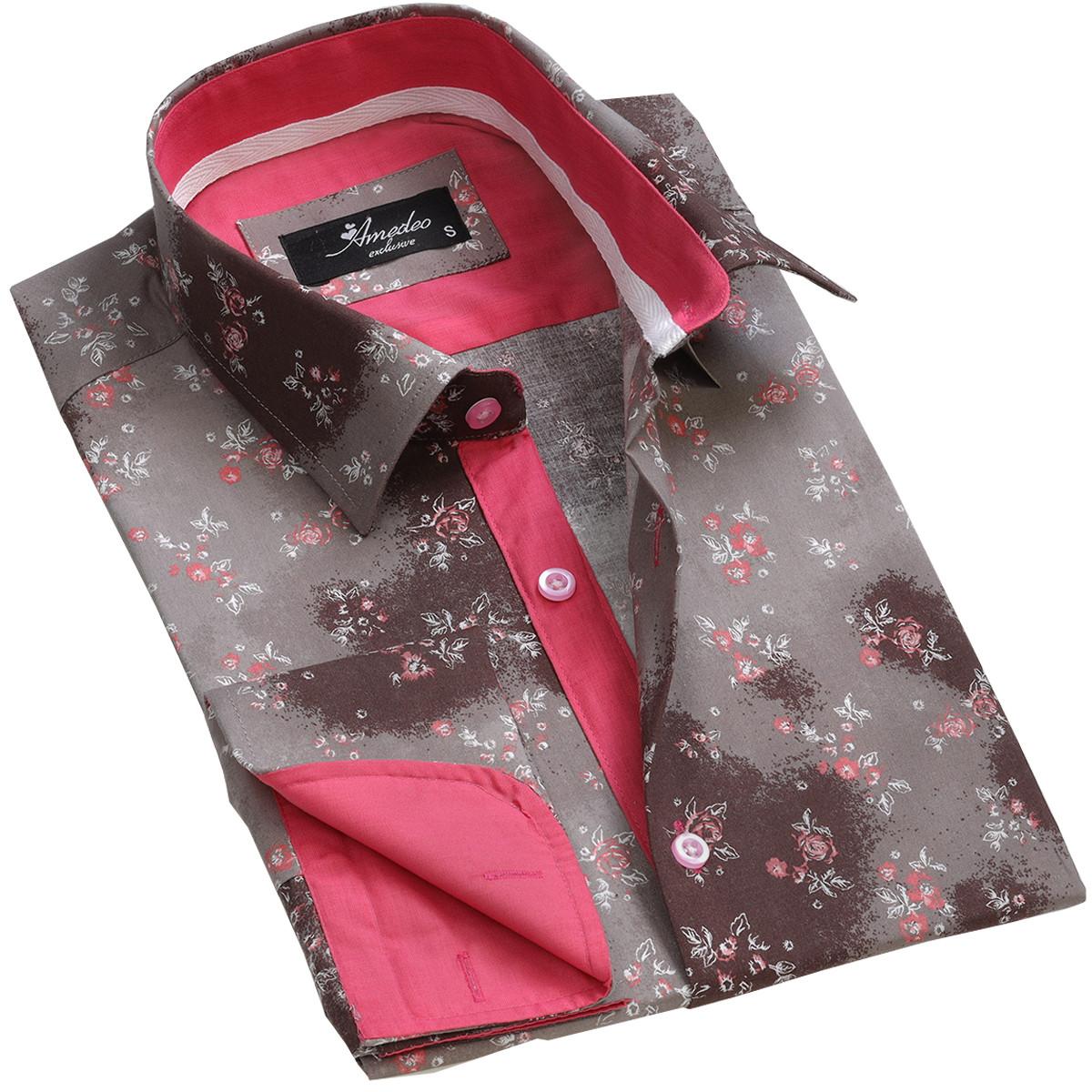 European Made & Designed Reversible Cuff Premium French Cuff Dress Shirt - brown floral