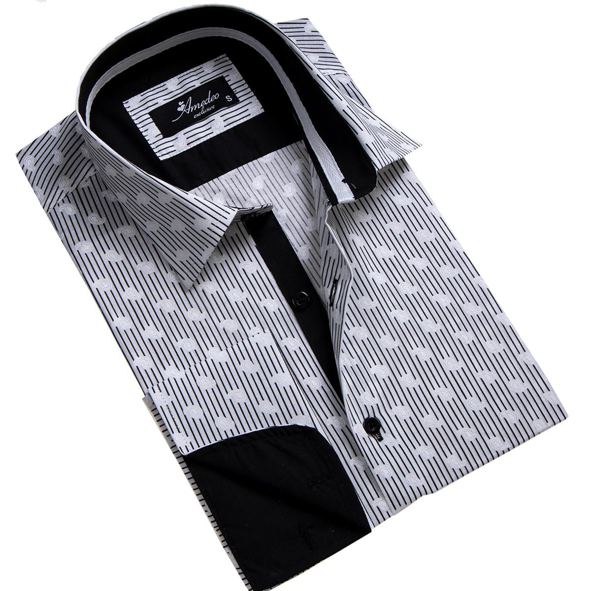 European Made & Designed Reversible Cuff Premium French Cuff Dress Shirt - black & white lines