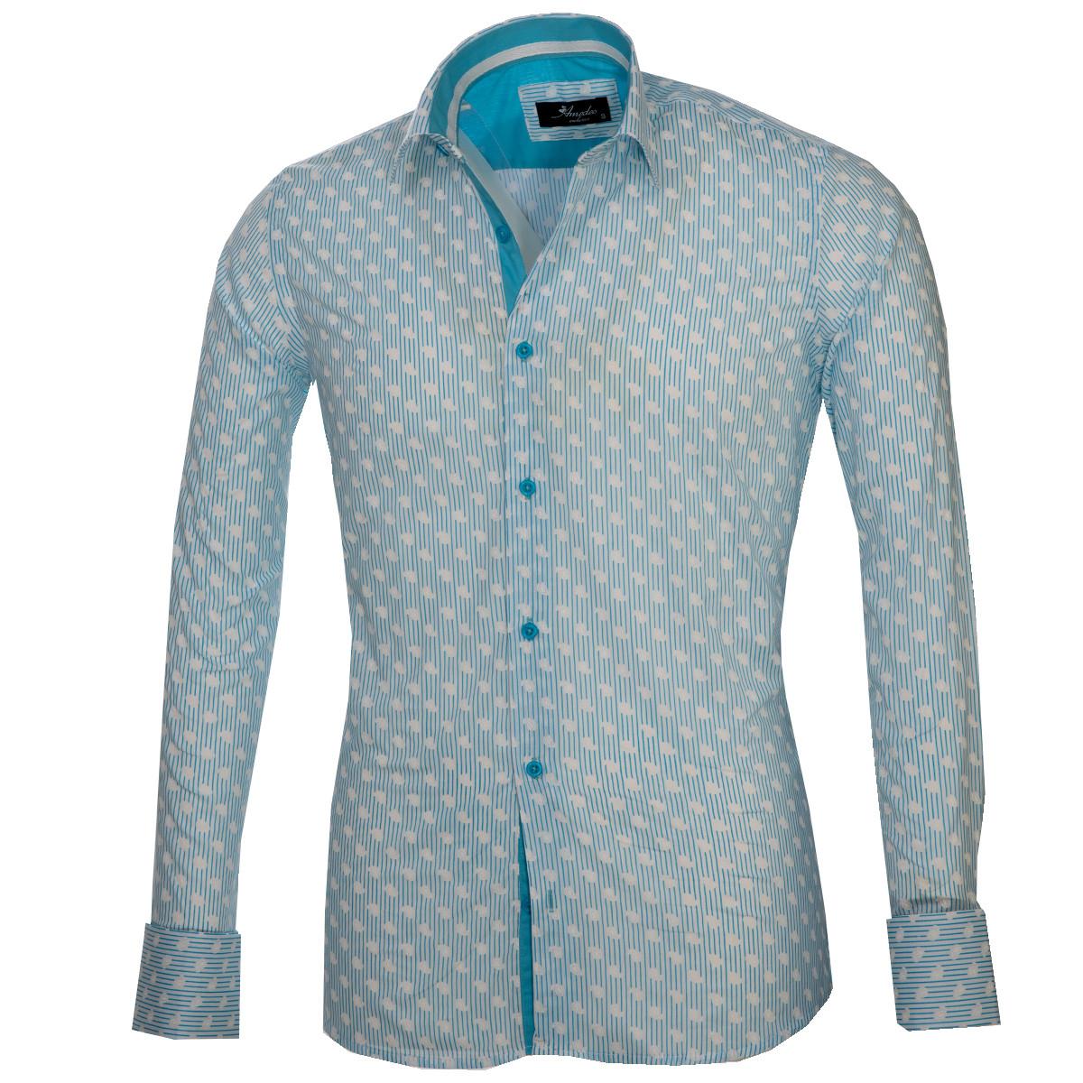 European Made & Designed Reversible Cuff Premium French Cuff Dress Shirt - white & blue paisley