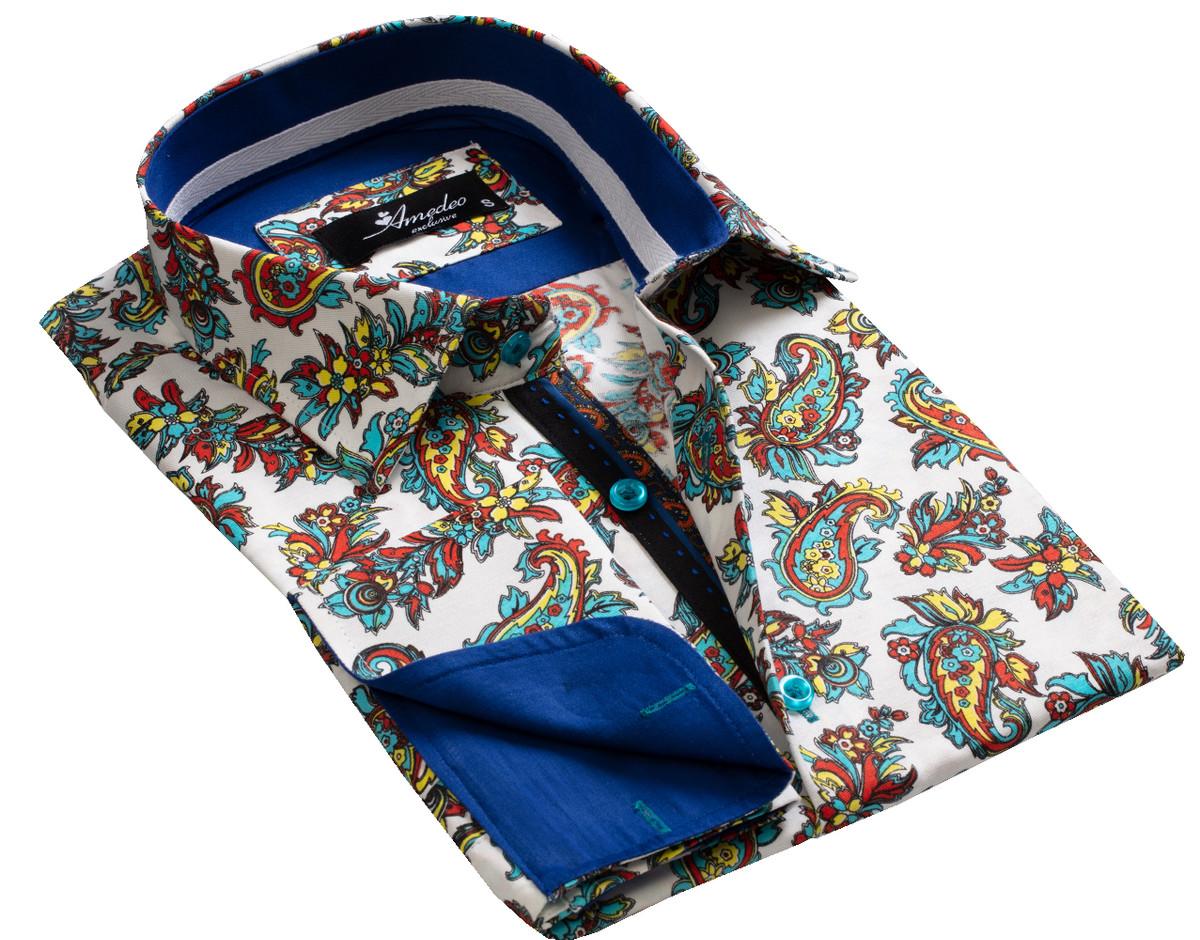 European Made & Designed Reversible Cuff Premium French Cuff Dress Shirt - paisley