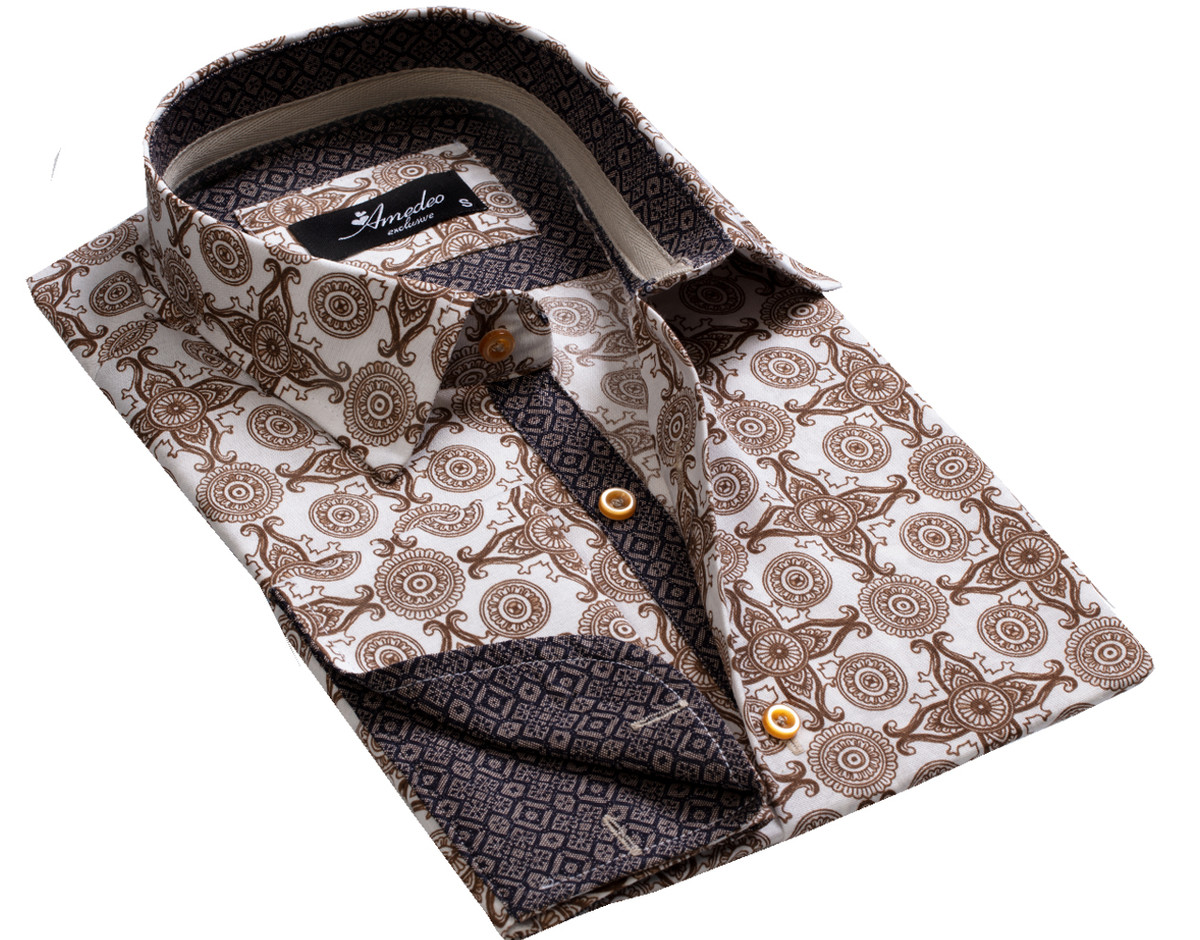 European Made & Designed Reversible Cuff Premium French Cuff Dress Shirt - white & brown