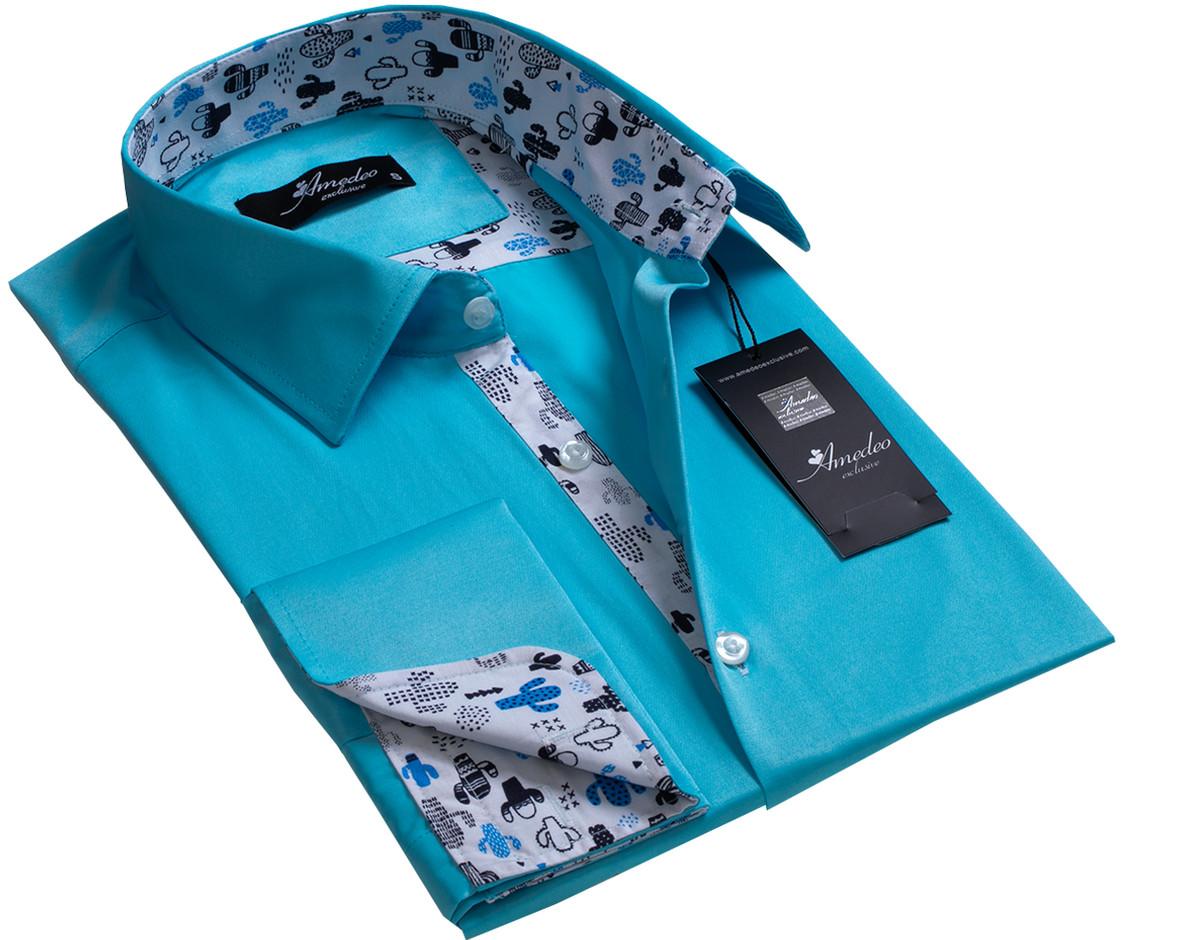 European Made & Designed Reversible Cuff Premium French Cuff Dress Shirt - turquoise