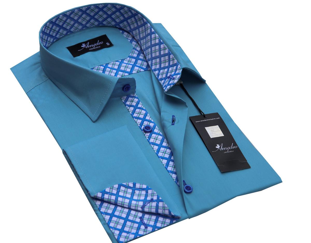 European Made & Designed Reversible Cuff Premium French Cuff Dress Shirt - turq check