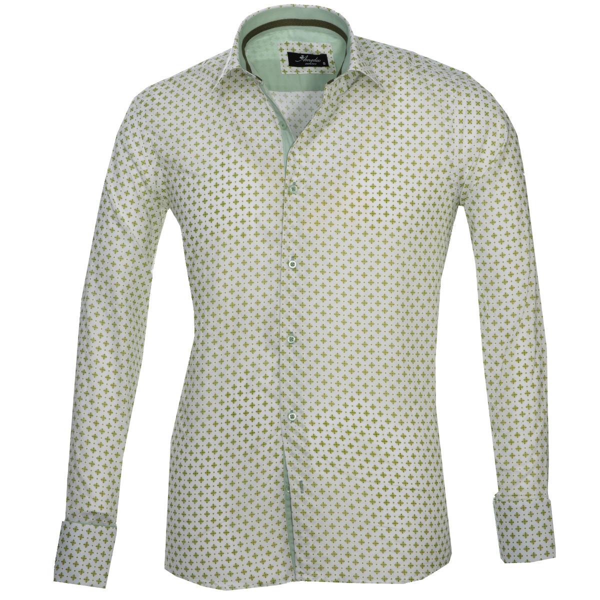 European Made & Designed Reversible Cuff Premium French Cuff Dress Shirt - light green