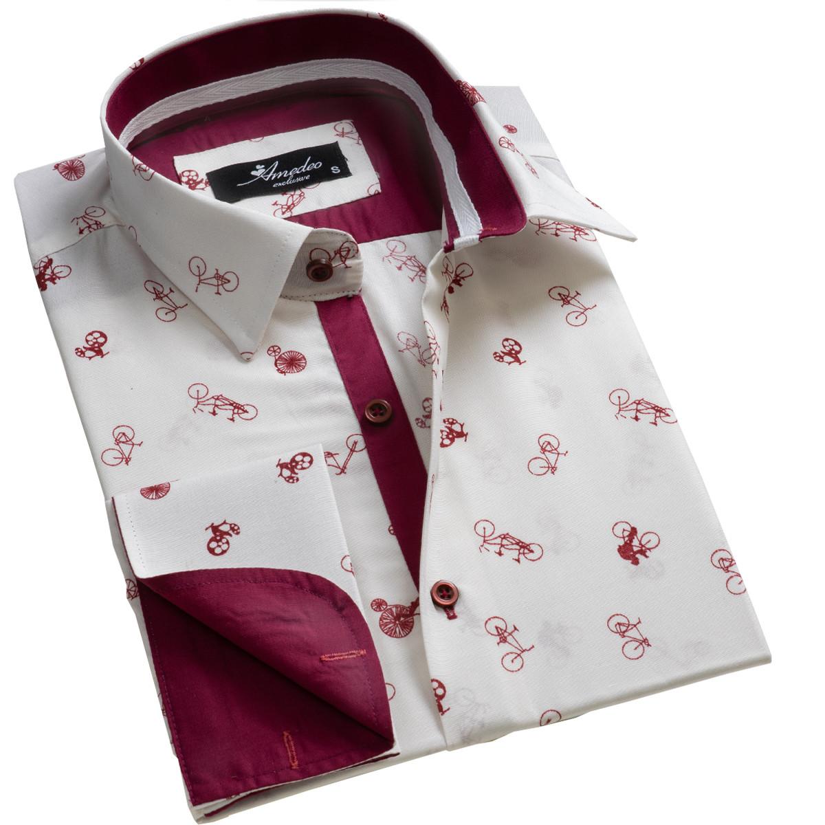 European Made & Designed Reversible Cuff Premium French Cuff Dress Shirt - white & burgundy