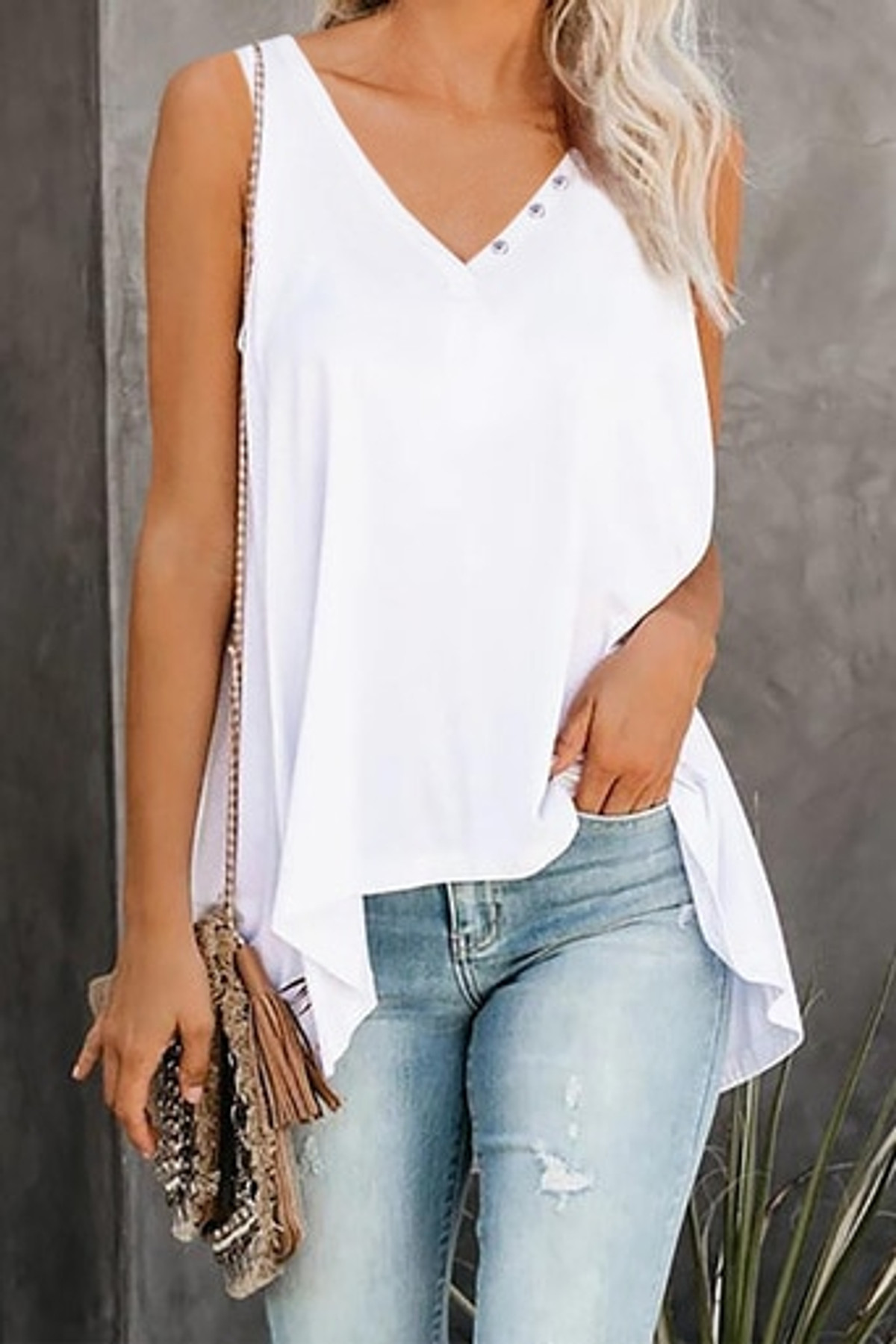 V Neck Sleeveless High Low Tank Top FRE253366-1