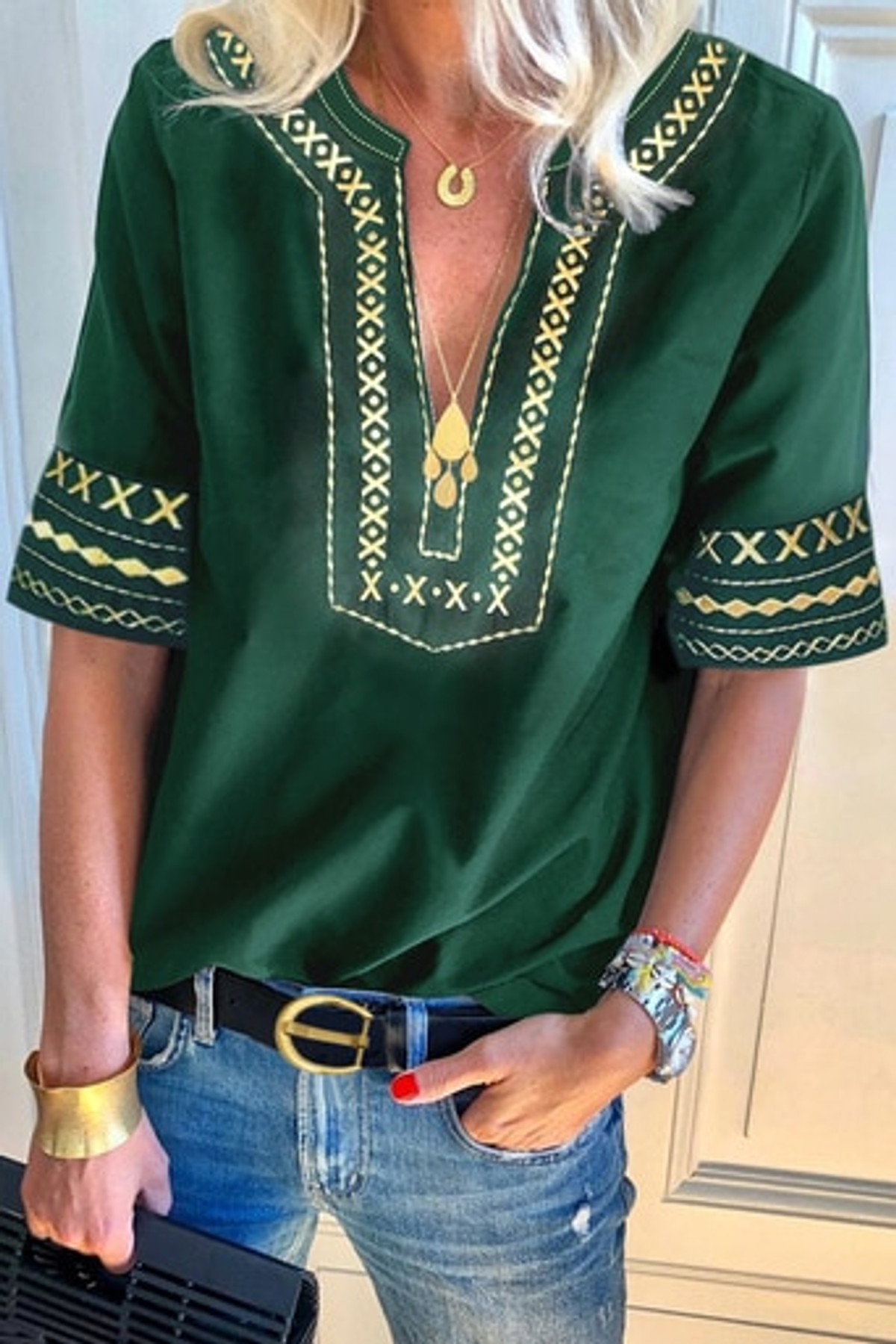 Boho Embroidered V Neck Casual Top FRE253353-9