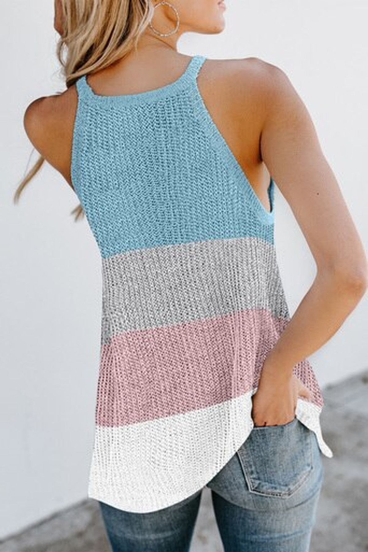 Color Block Striped Knit Tank Top FRE253477-4
