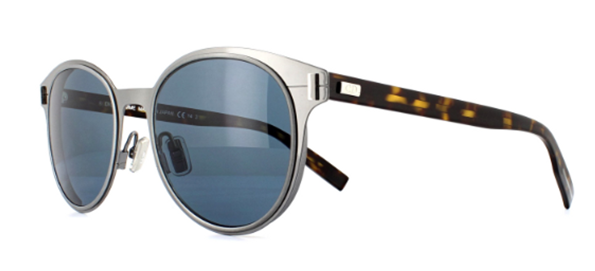 Unisex Round Frame Sunglasses in Ruthenium Black/Blue