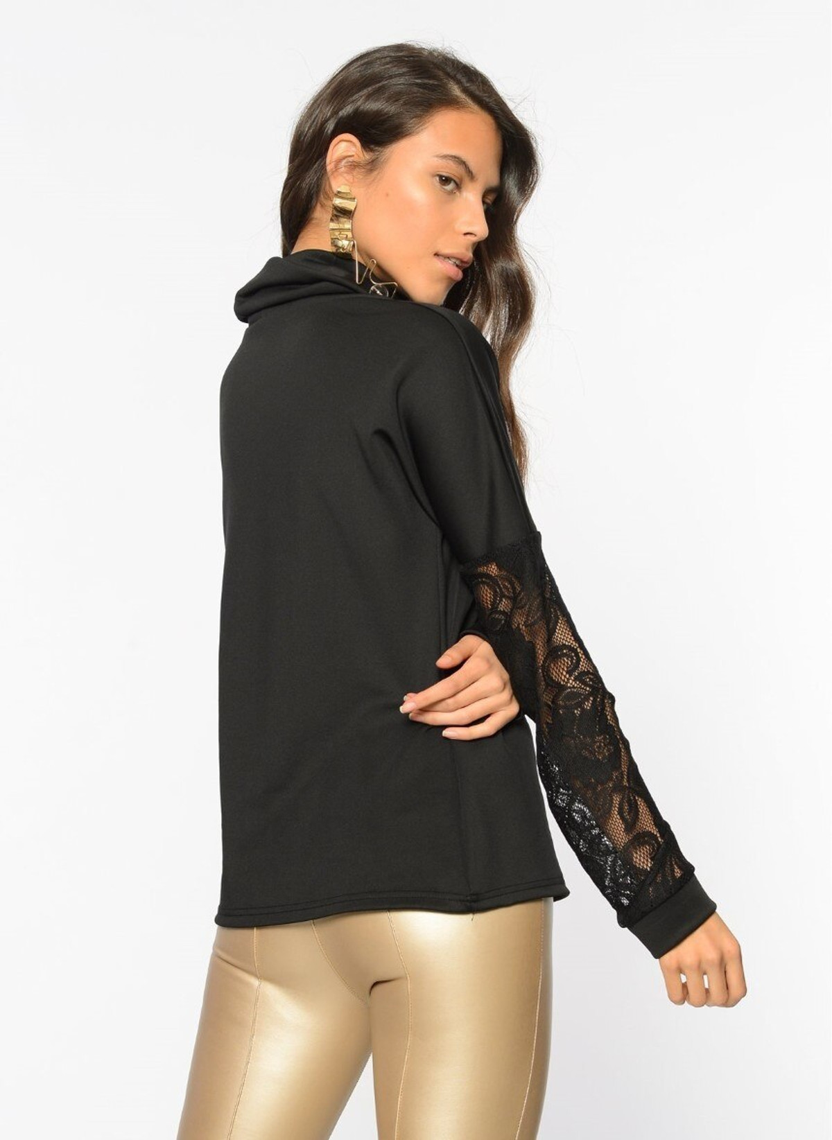 Blouse with Lace Sleeves and Low Collar in Black