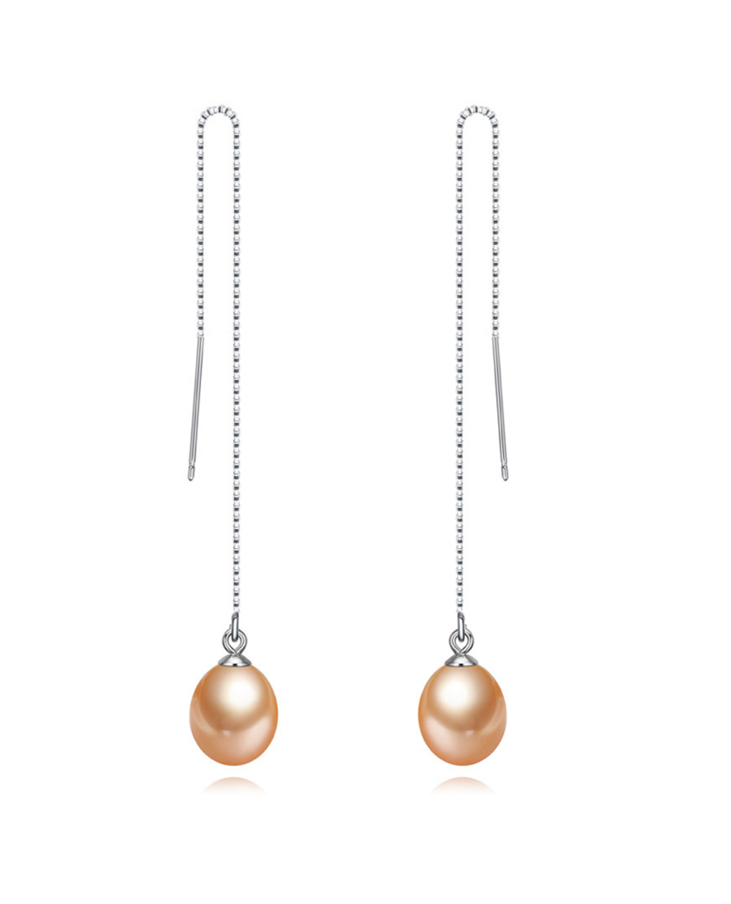 view of a pair of Peach Freshwater Pearl Threader Earrings