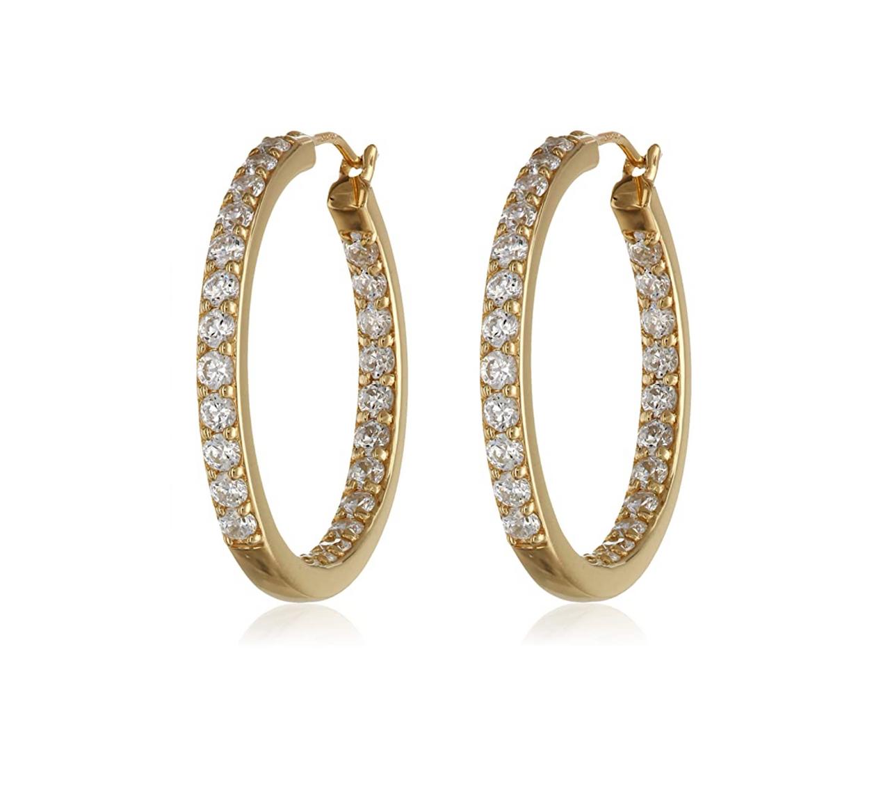 view of a pair of Goldtone & Dual Sided Clear Swarovski Crystal Everyday Hoop Earrings