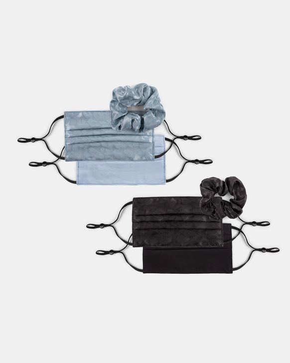 Bugatti 4-piece Reversible Mask and Scrunchie Set