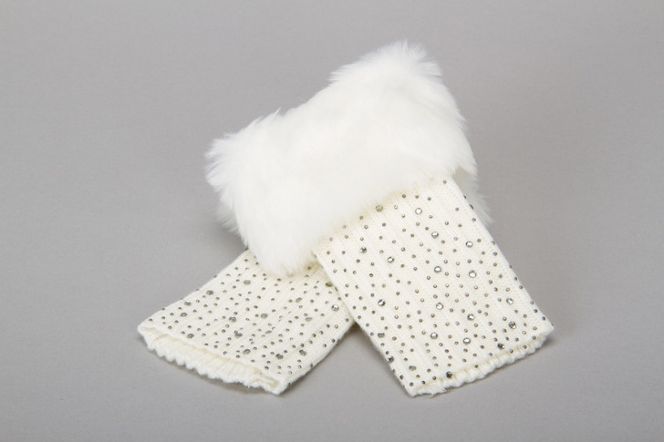 Embellished Faux Fur Trim Wrist Warmers in Gray