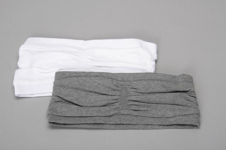 Ladies 2 pack tube top bra - white/grey