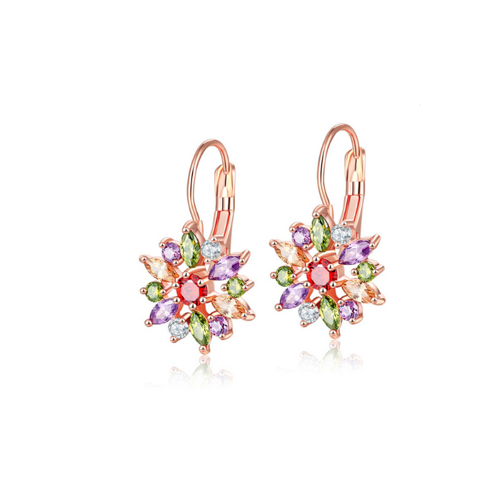 Rose Gold & Jewel Toned Cubic Zirconia Pointed Flower Leverback Earrings