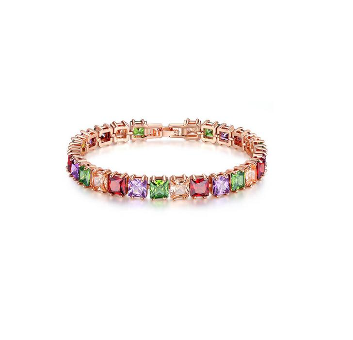 Rose Gold & Jewel Toned Square Cubic Zirconia Bracelet