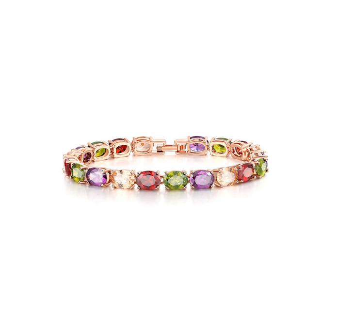 Rose Gold & Jewel Tone Oval Cubic Zirconia Bracelet